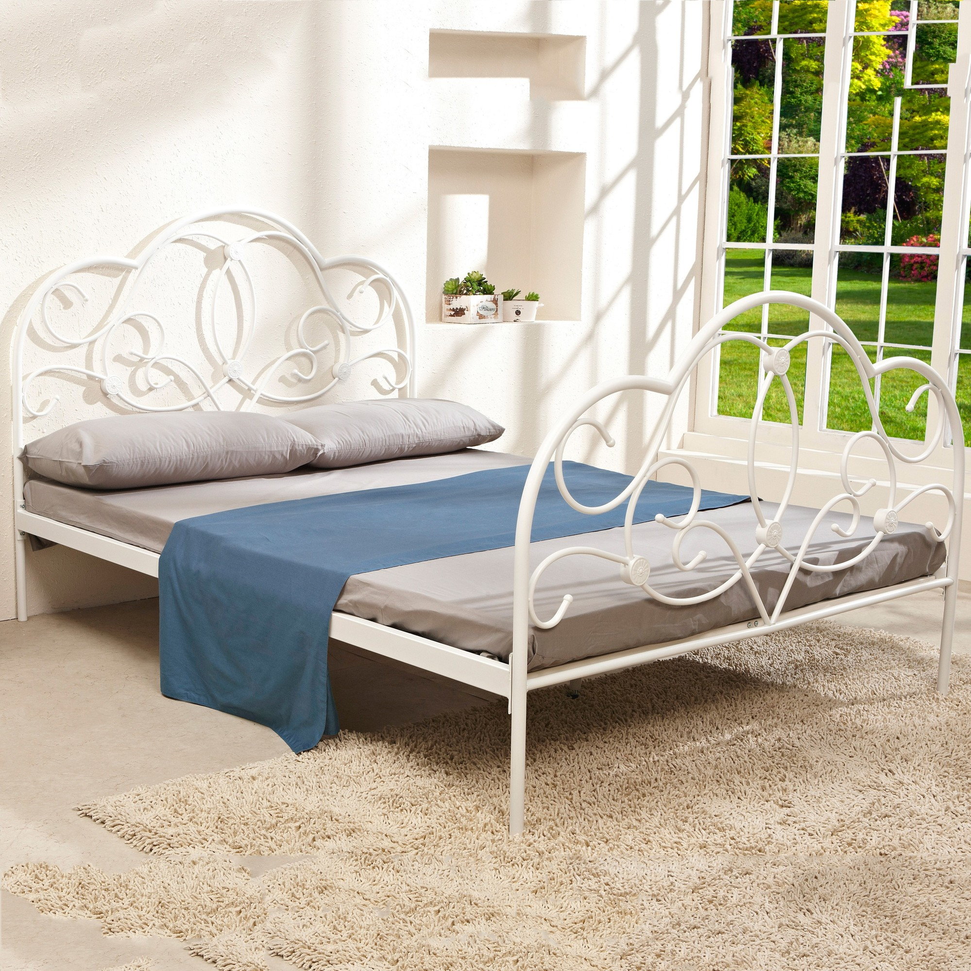 sku iqki1040 white metal queen size curved bed frame is also sometimes listed under the following manufacturer numbers kfwt003quwh tp - White Metal Queen Bed Frame