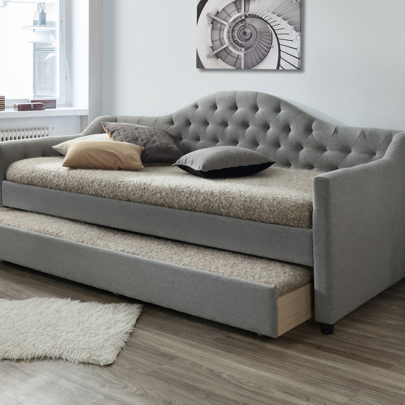 New grey york single day bed frame with trundle vic for York sofa bed
