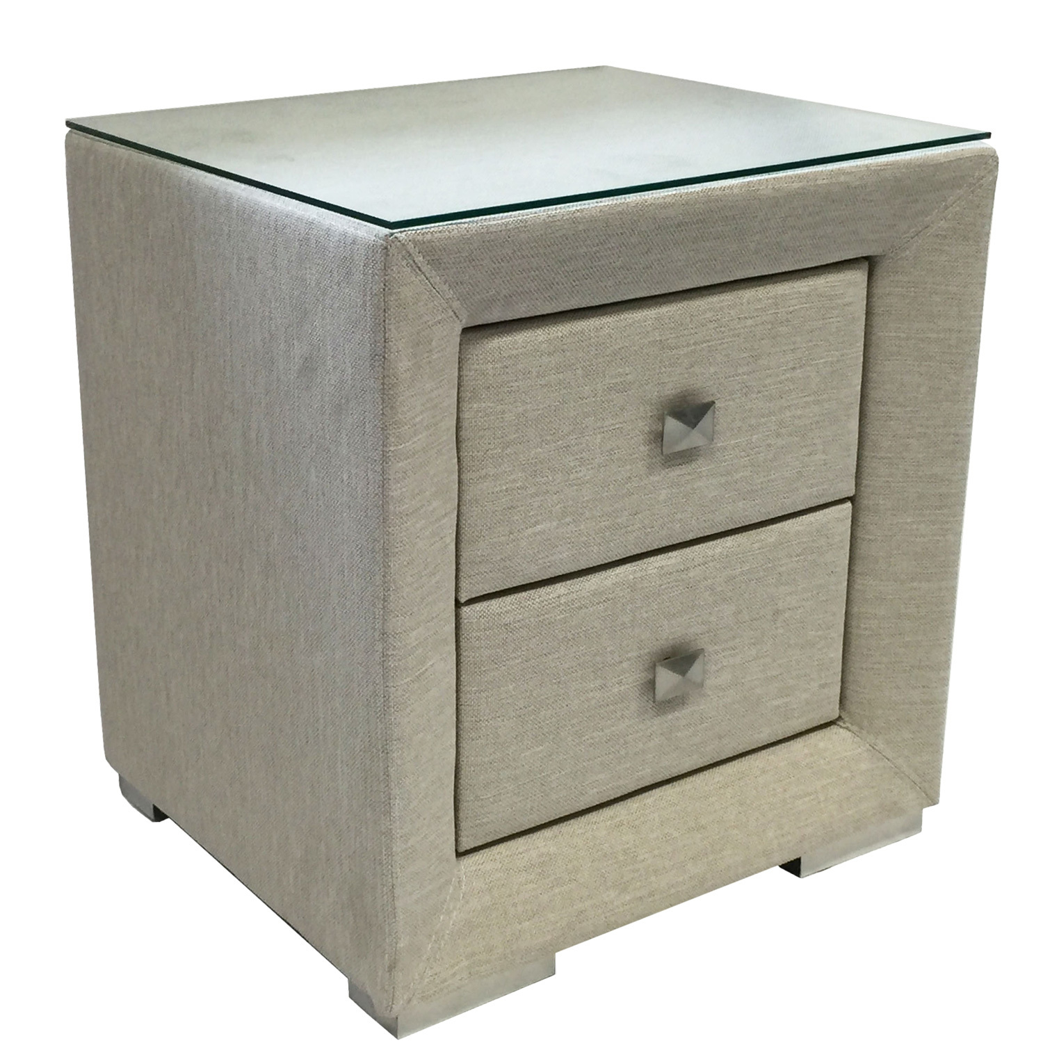 Oat White Fabric Bedside Table With Glass Top