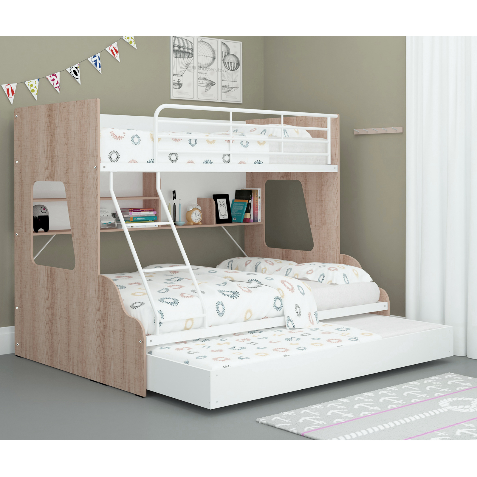 White Single Over Double Trio Bunk Bed with Shelves & Trundle ...