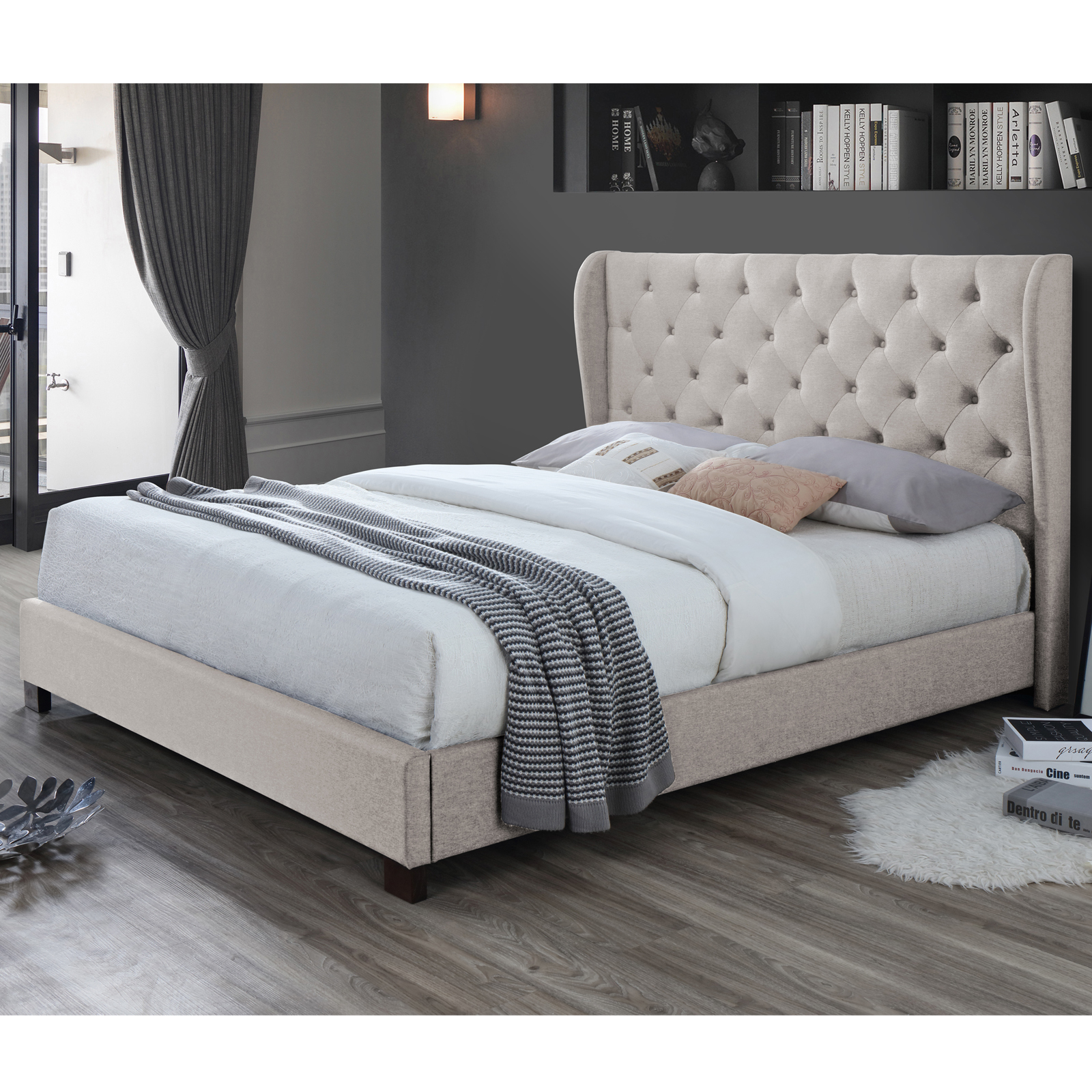 NEW Oat White Diamond Queen Bed Frame VIC Furniture Beds