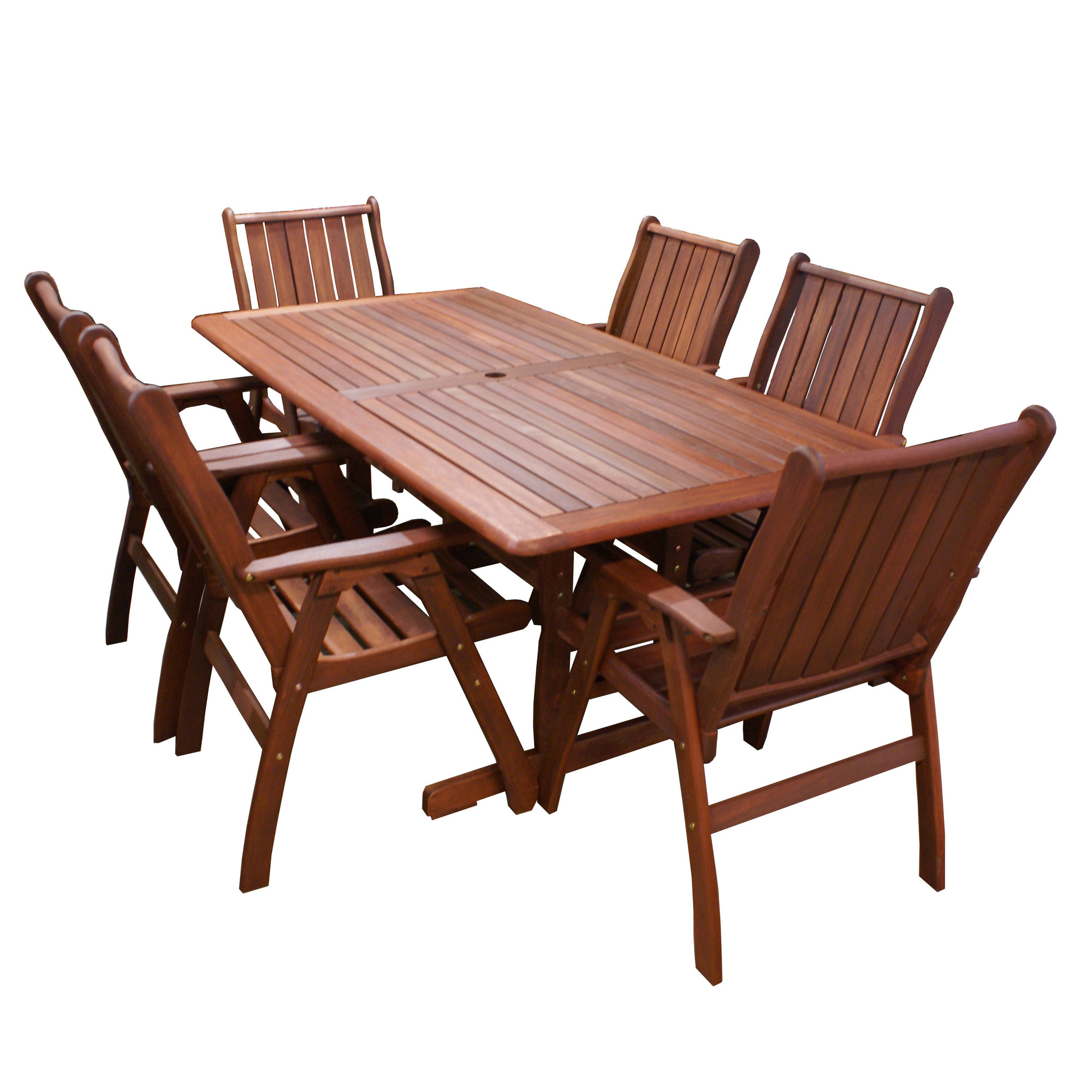 7 Piece Santa Maria Outdoor Dining Table Chair Set Temple Webster
