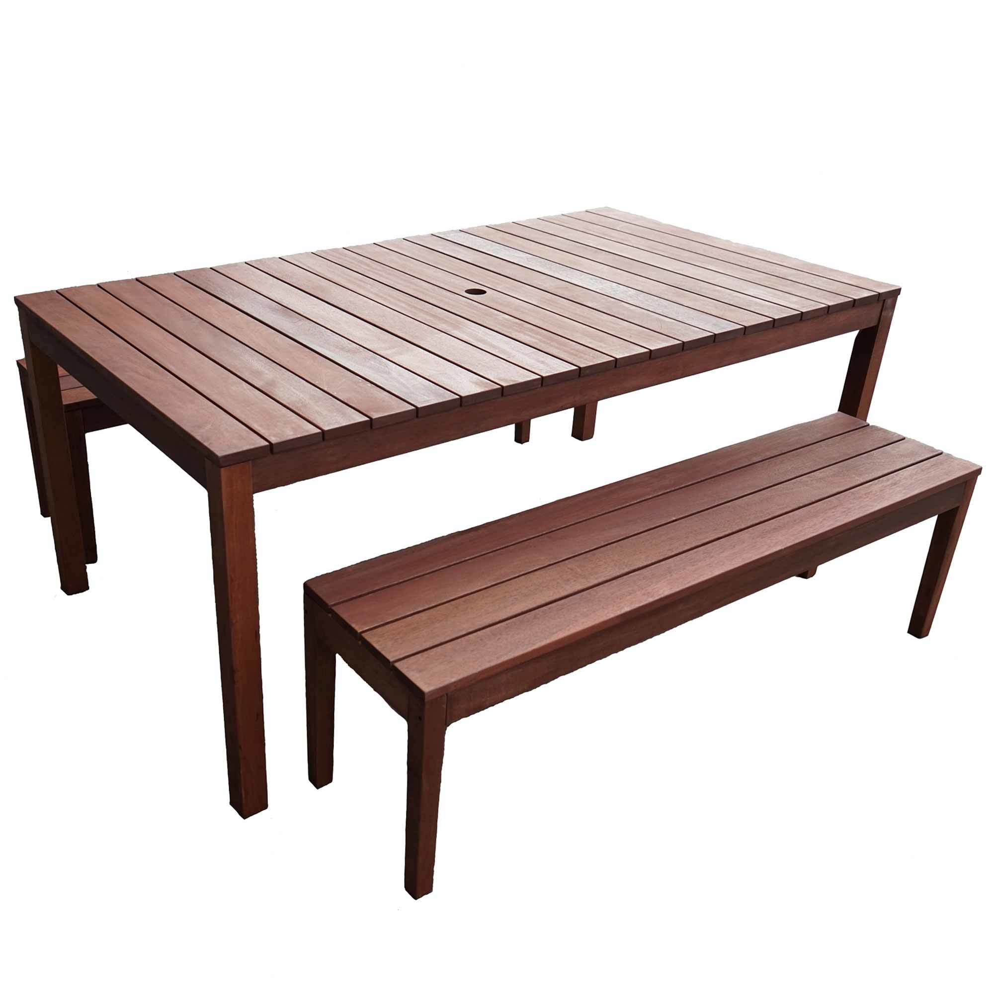 Picture of: Woodlands Outdoor Furniture 6 Seater Outdoor Table Bench Set Reviews Temple Webster