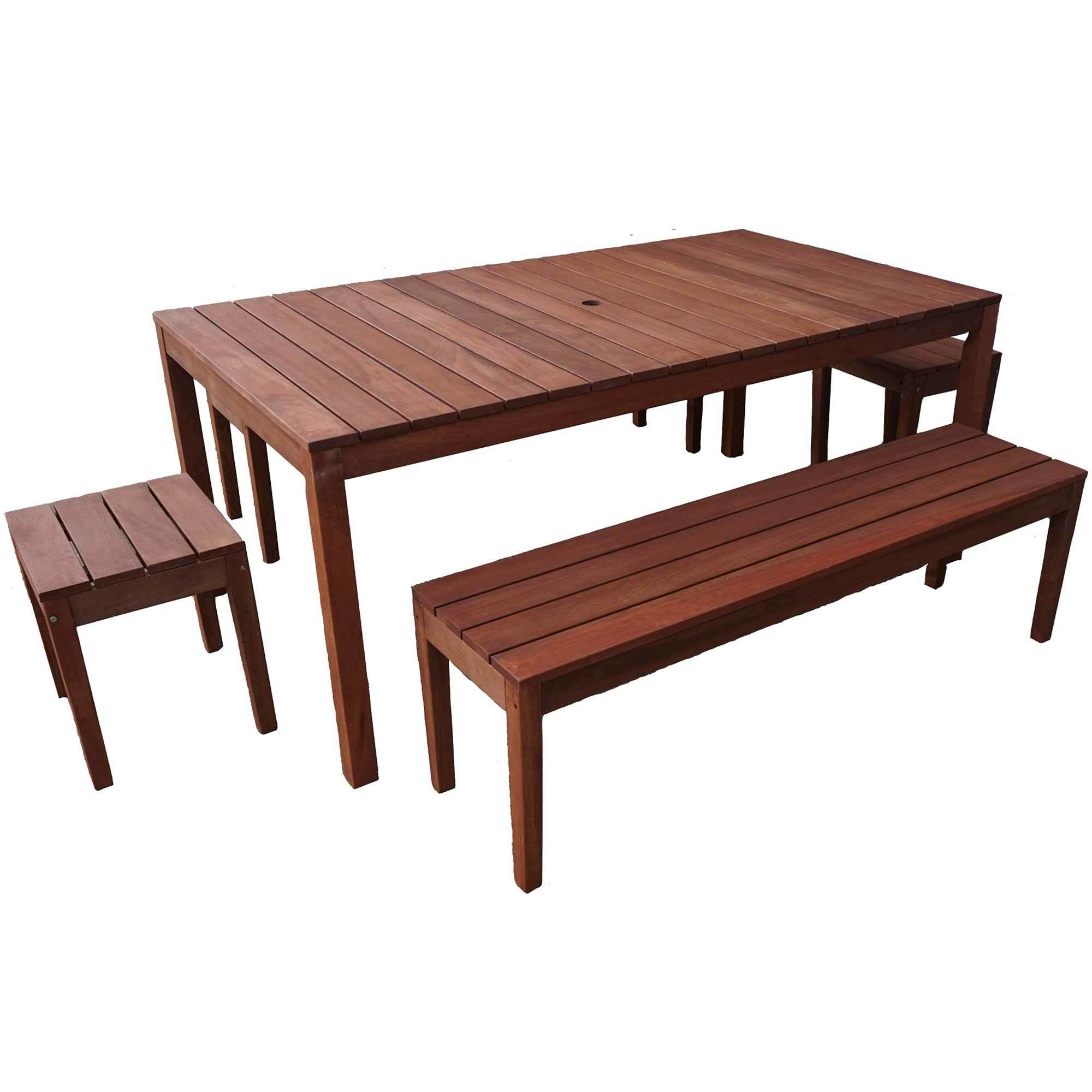 8 Seater Outdoor Table Bench Set, Outdoor Timber Dining Table With Bench Seats
