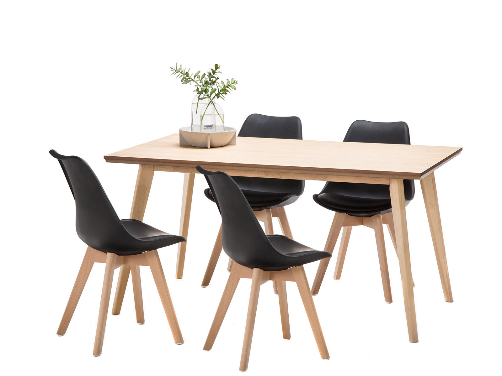 Wyatt Dining Table Set with 4 Padded Eames Replica Chairs