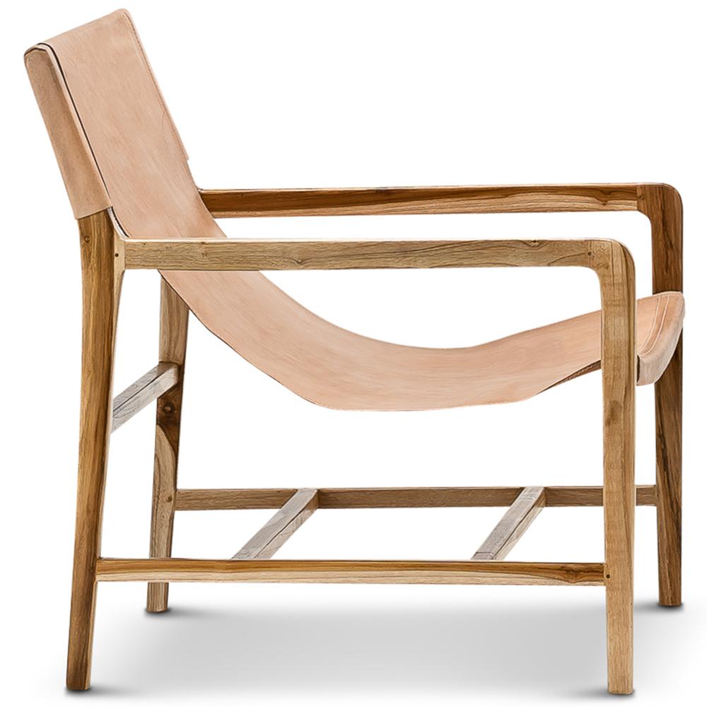 New Norah Sling Leather Teak Armchair Continental Designs