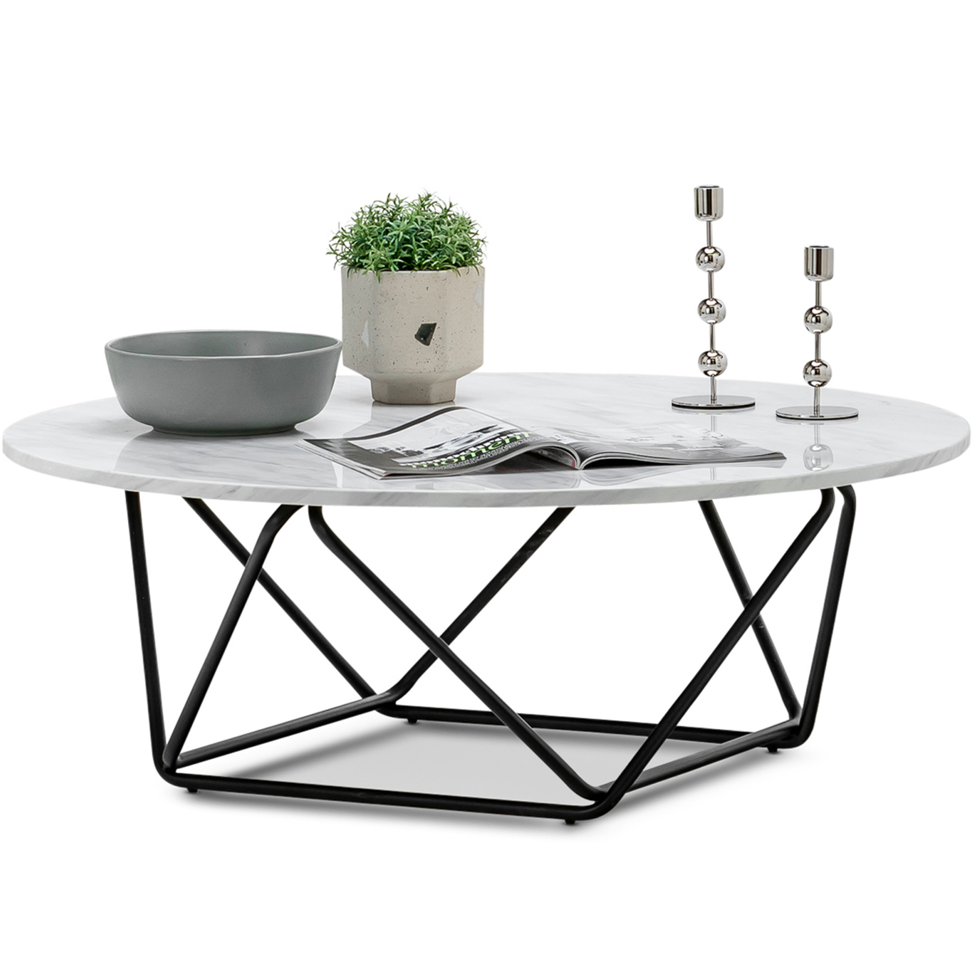 Continental Designs Black White Aria Marble Coffee Table Reviews Temple Webster