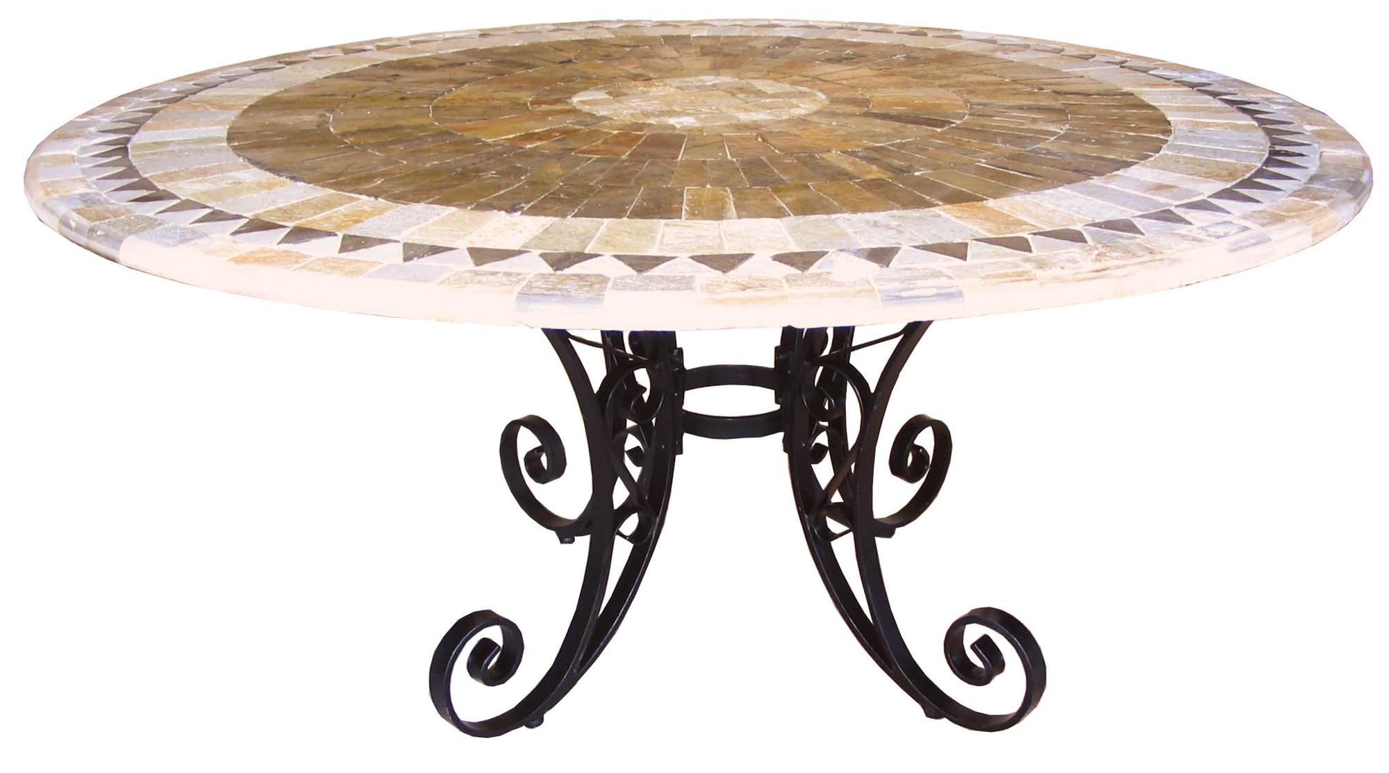sunray round mosaic stone table on iron base temple u0026 webster