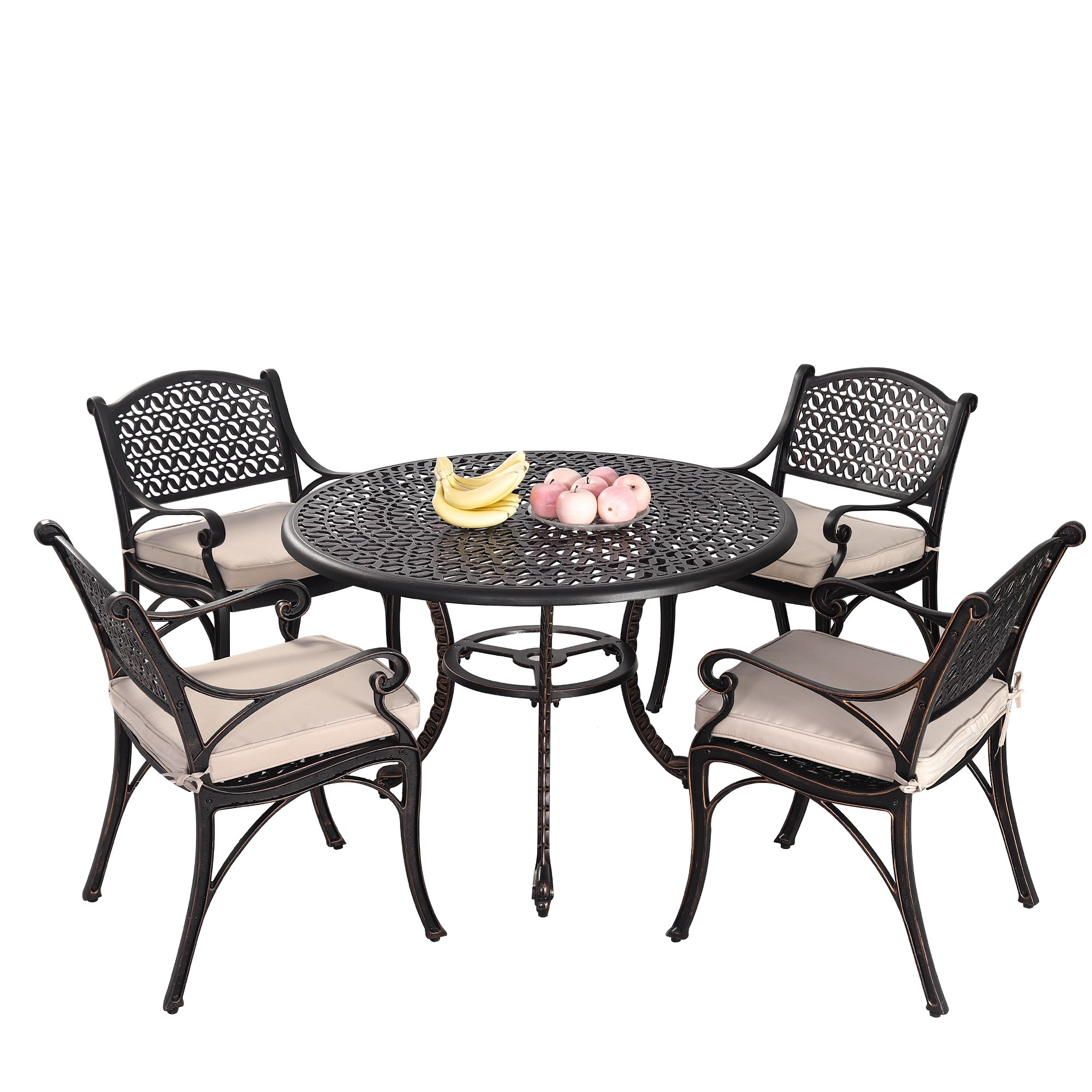 Cast Iron Outdoor 5 Piece Prato Cast Aluminium Dining Table Chair Set Temple Webster