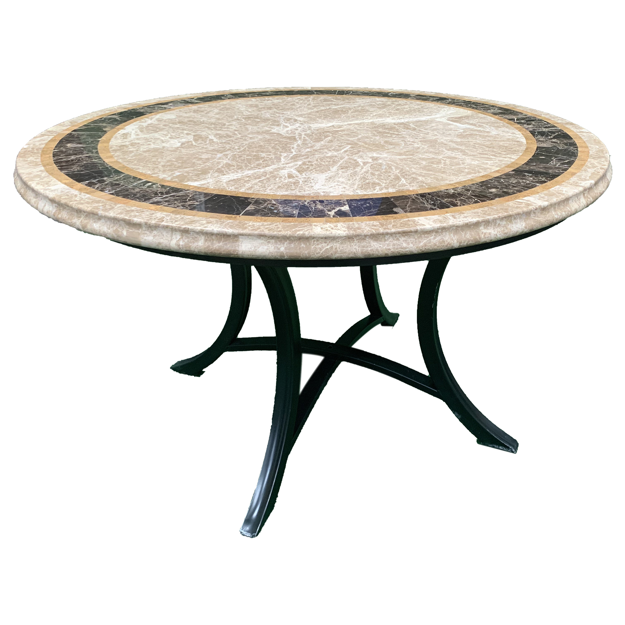 Cast Iron Outdoor Saturn Round Marble Top Outdoor Dining Table Reviews Temple Webster