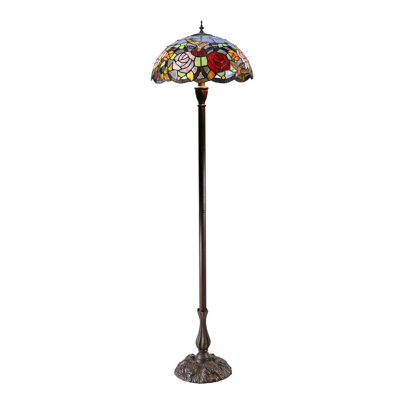 Hummingbird Flower Stained Glass Tiffany Floor Lamp