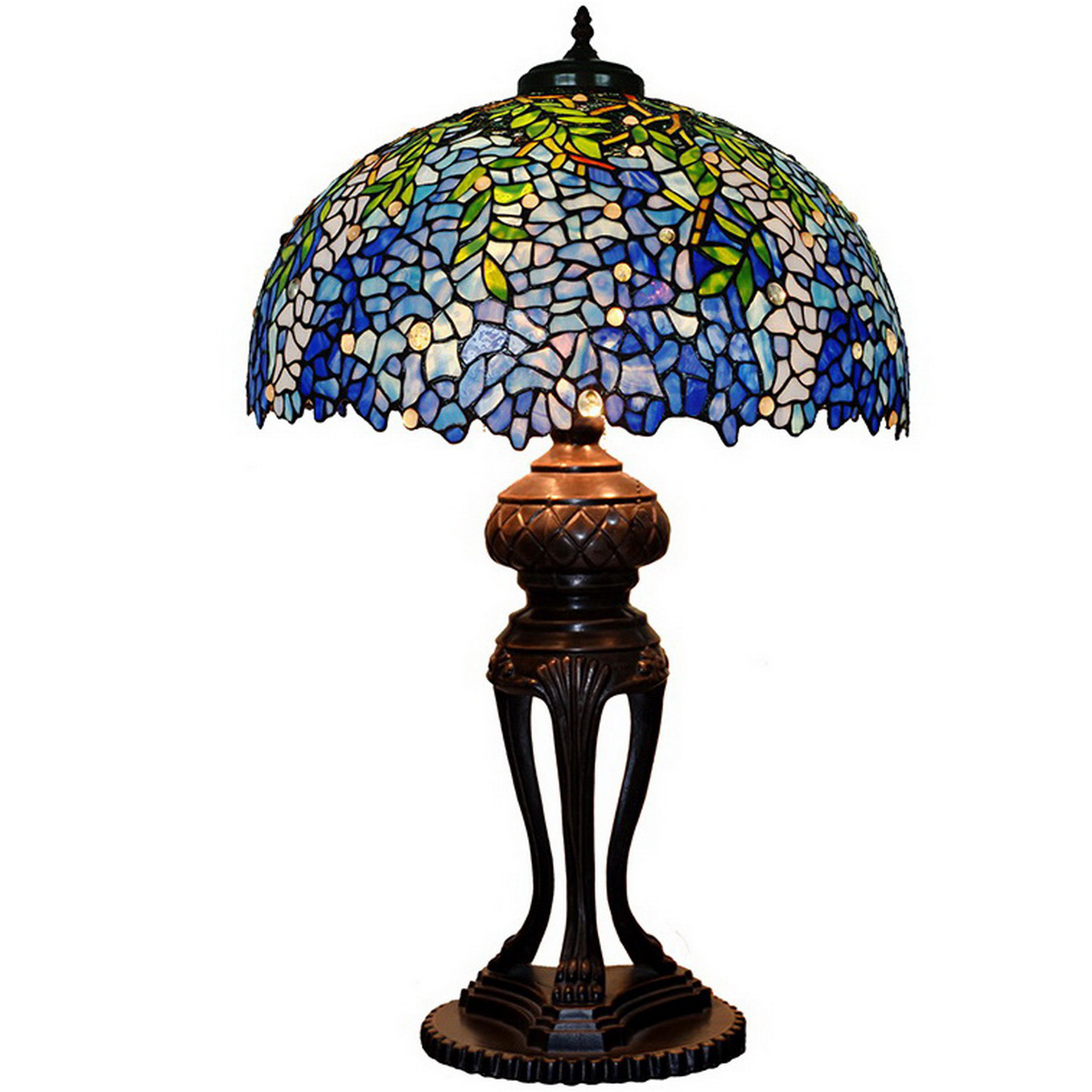 Image of: Blue Wisteria Leaf Tiffany Style Table Lamp Temple Webster