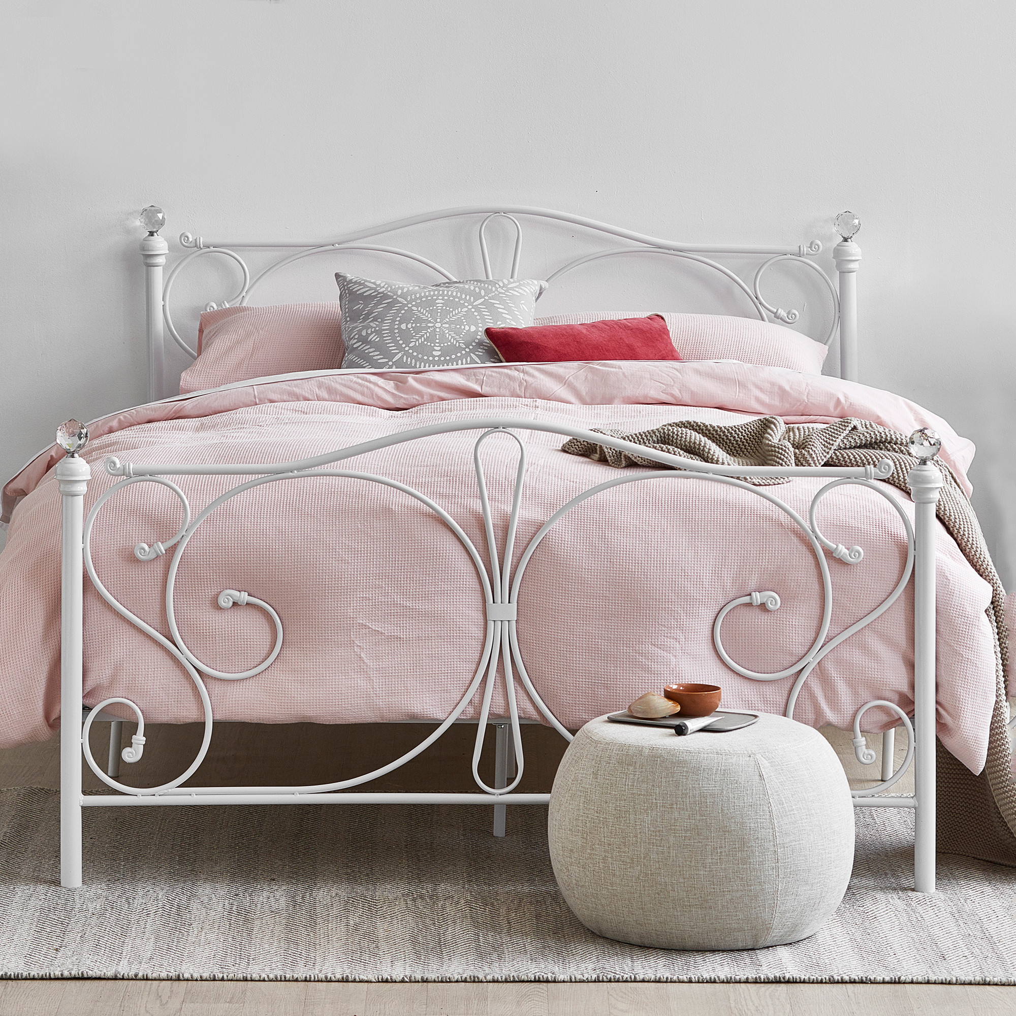 Picture of: White Metal Bed Frame