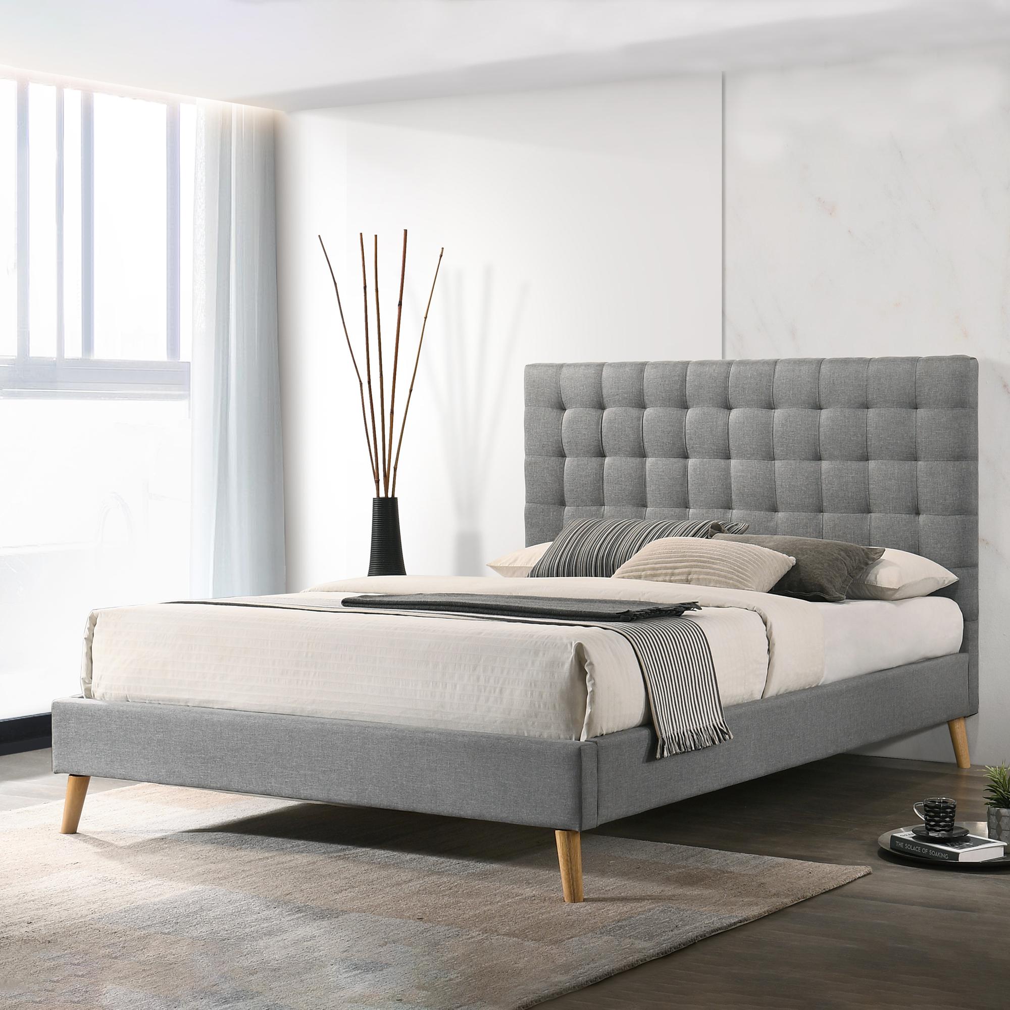 By Designs Light Grey Davey Upholstered Bed Temple Webster