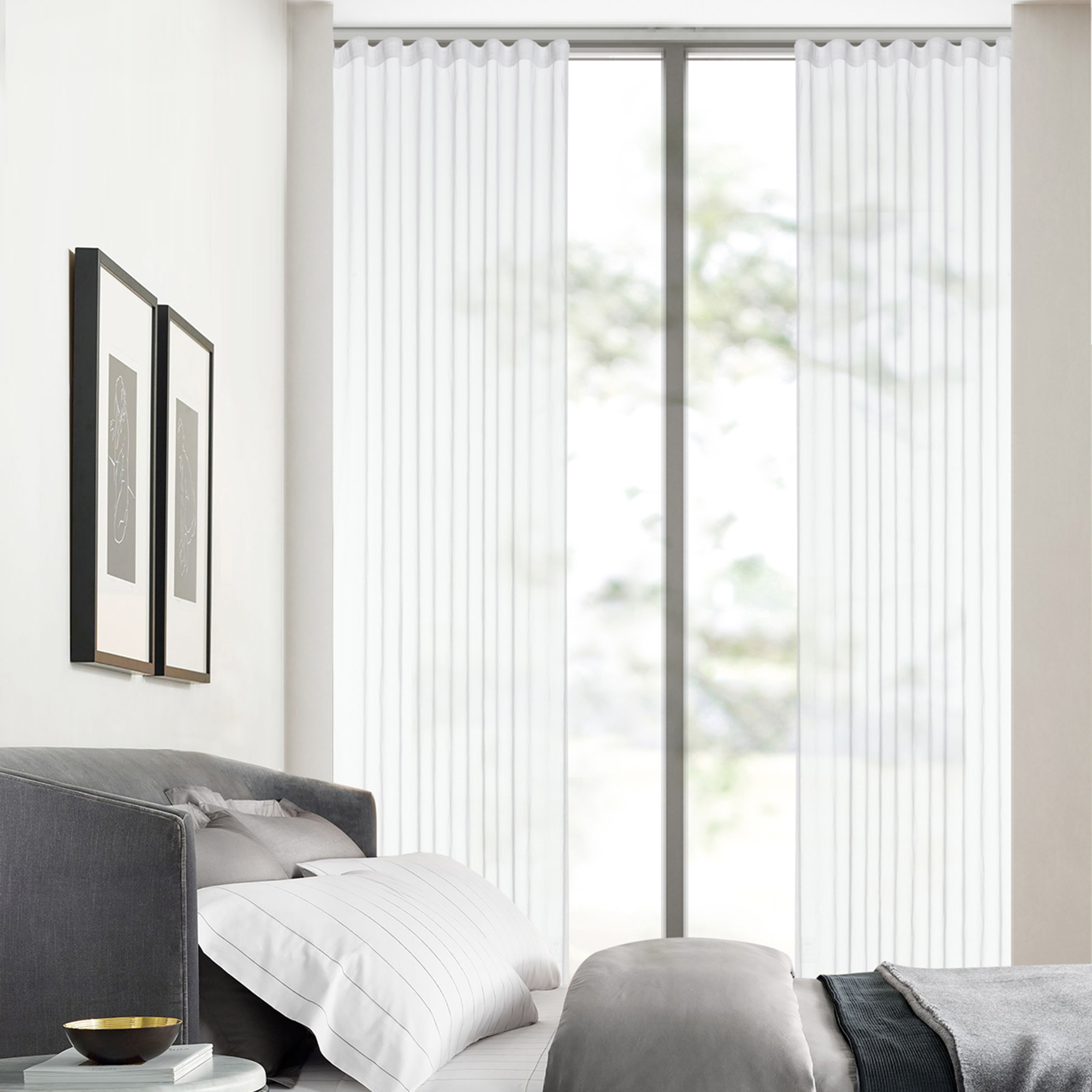 Essentially Homeliving White S Fold Sheer Curtains Temple Webster
