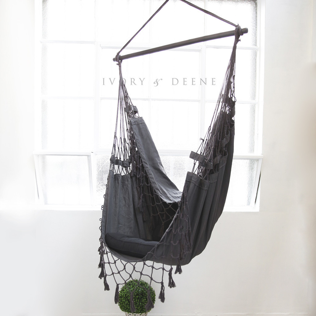 French Provincial Hanging Hammock Chair Charcoal