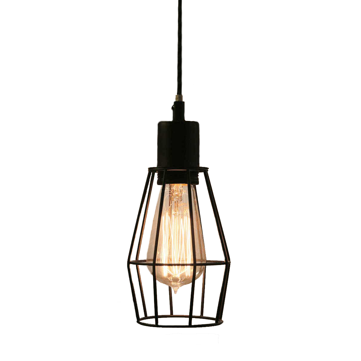 Wire cage industrial pendant light