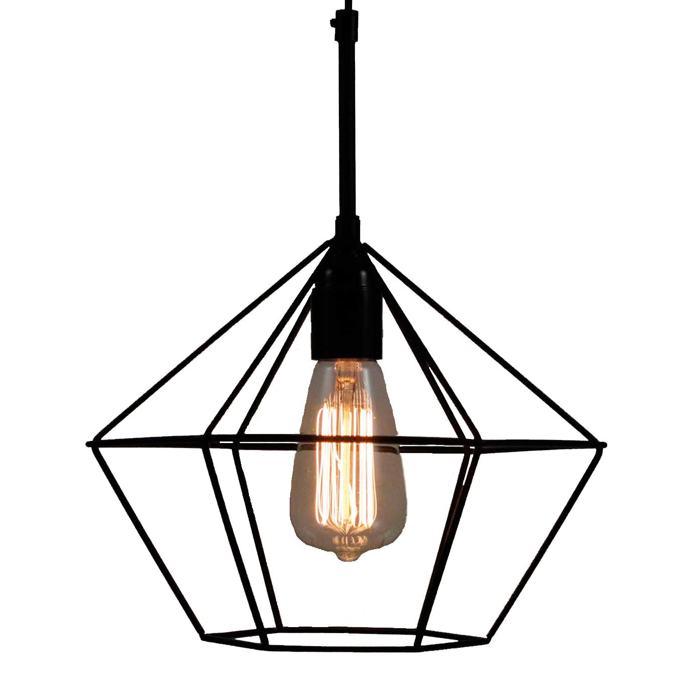 Black Diamond Wire Cage Pendant Light | Temple & Webster