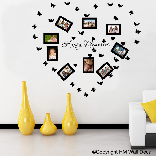 NEW-Photo-Frames-Butterflies-Hearts-Removable-Wall-Decal-Set