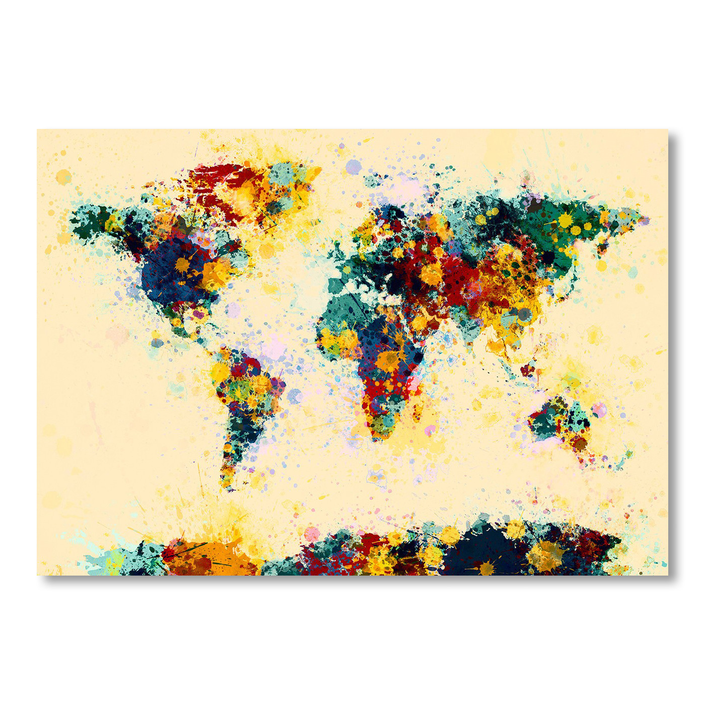 World Map Watercolor Wall Art | Temple & Webster