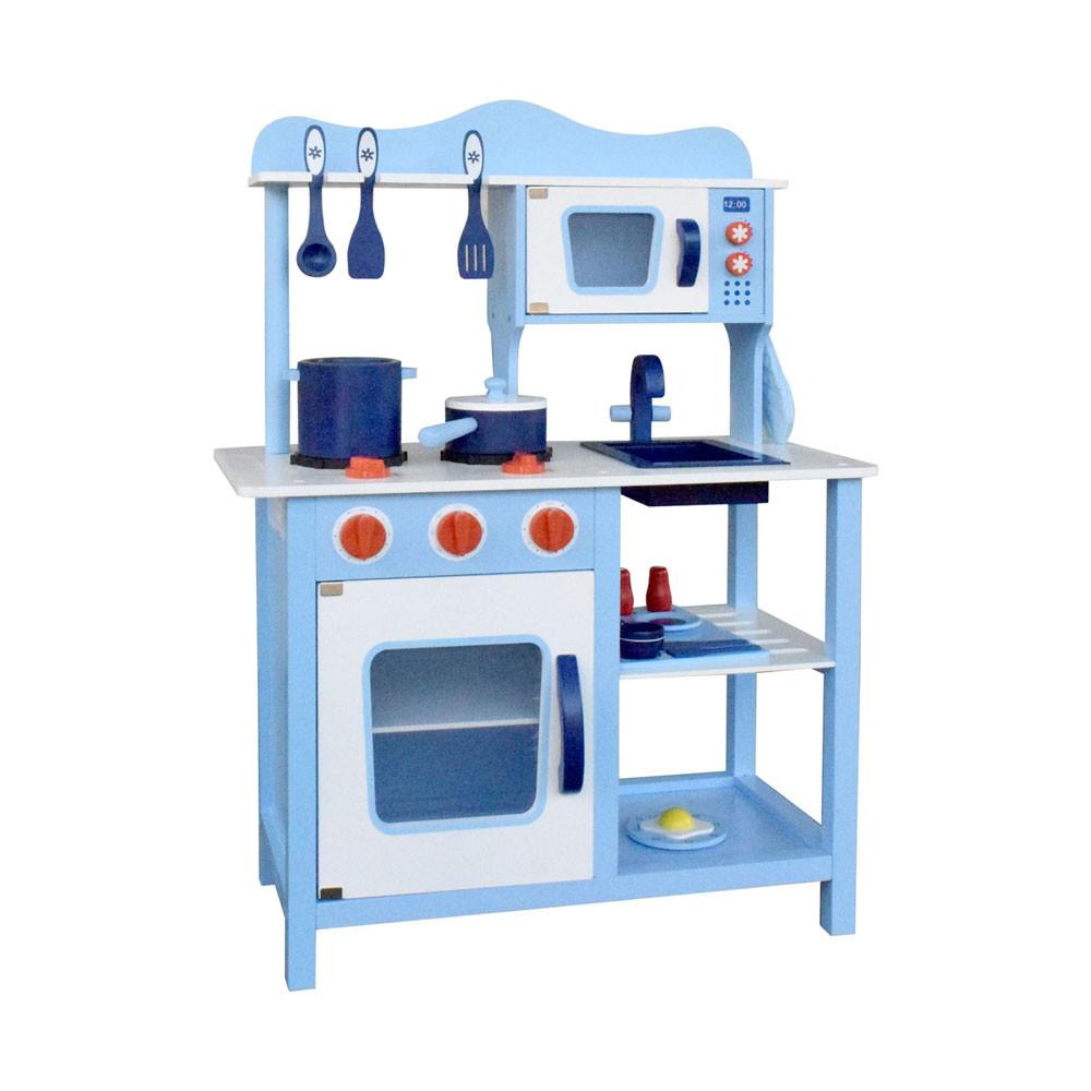 Children Wooden Kitchen Play Set Blue | Temple & Webster