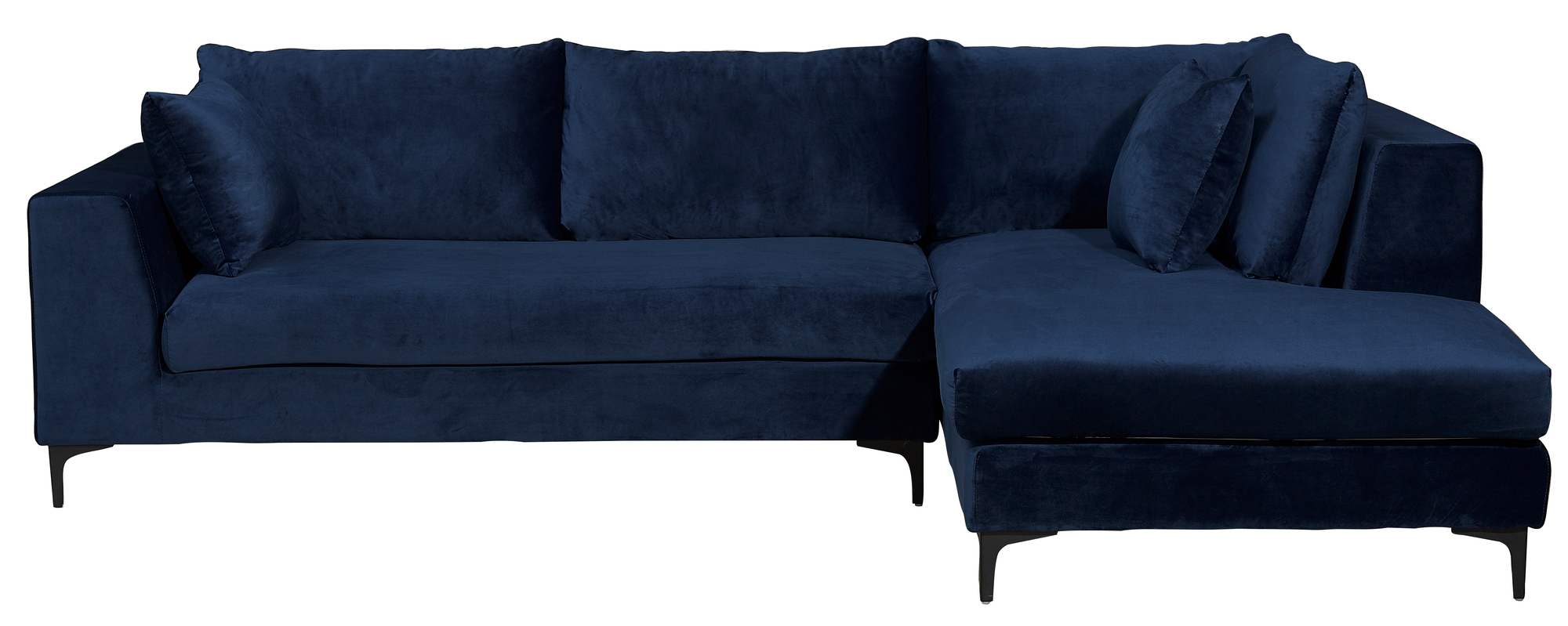 New navy blue velvet brooke 3 seater sofa with chaise ebay for 3 seater chaise sofa