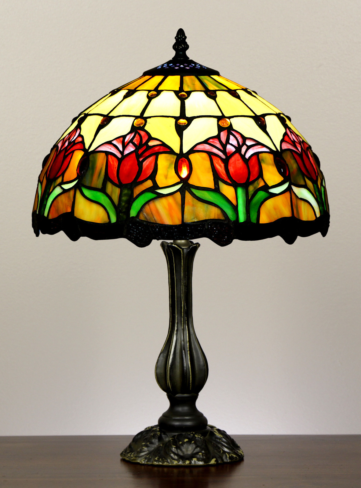 Forest Tiffany Tulip Style Stained Glass Table Lamp Reviews Temple Webster