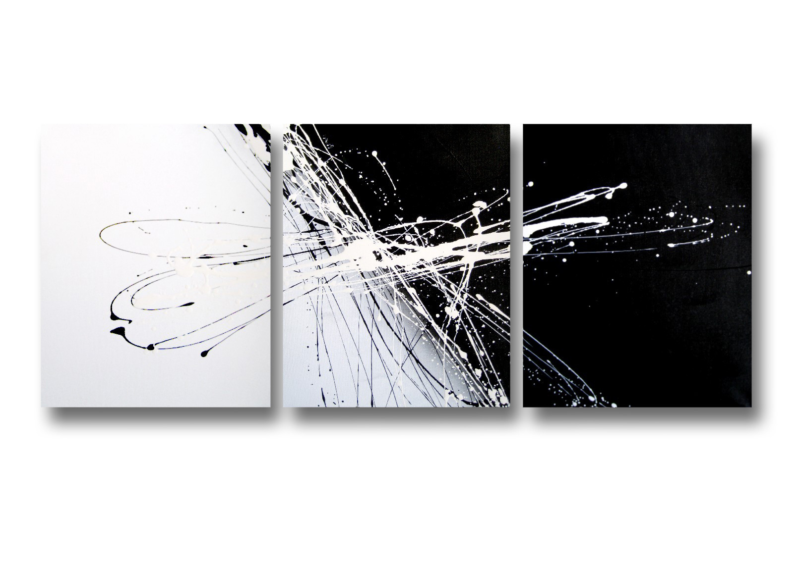 3 Piece Abstract Canvas Painting In Black And White