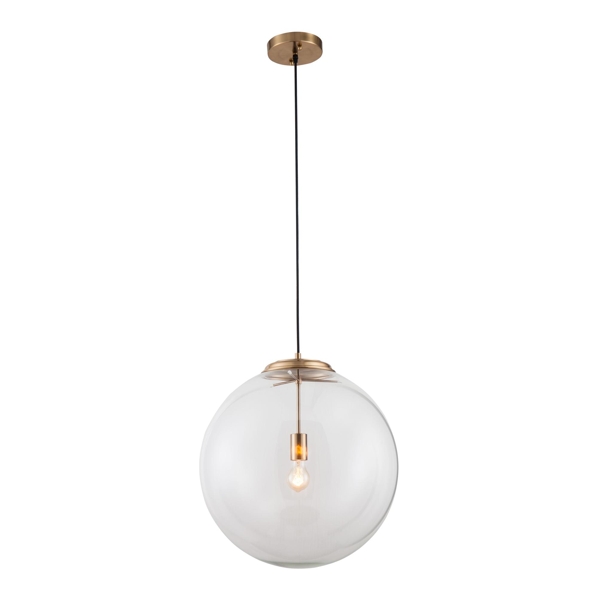 Brass glass ball pendant light