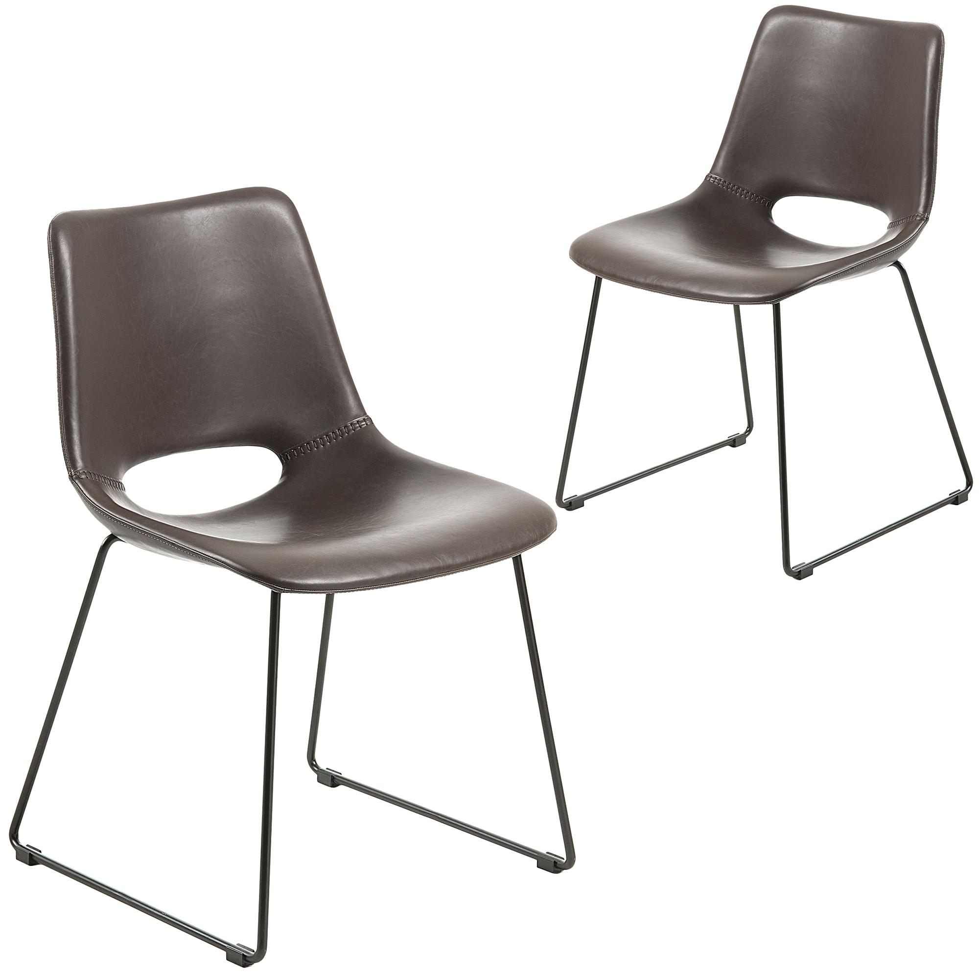 Tremendous Faux Leather Sleigh Dining Chair Set Of 2 Spiritservingveterans Wood Chair Design Ideas Spiritservingveteransorg