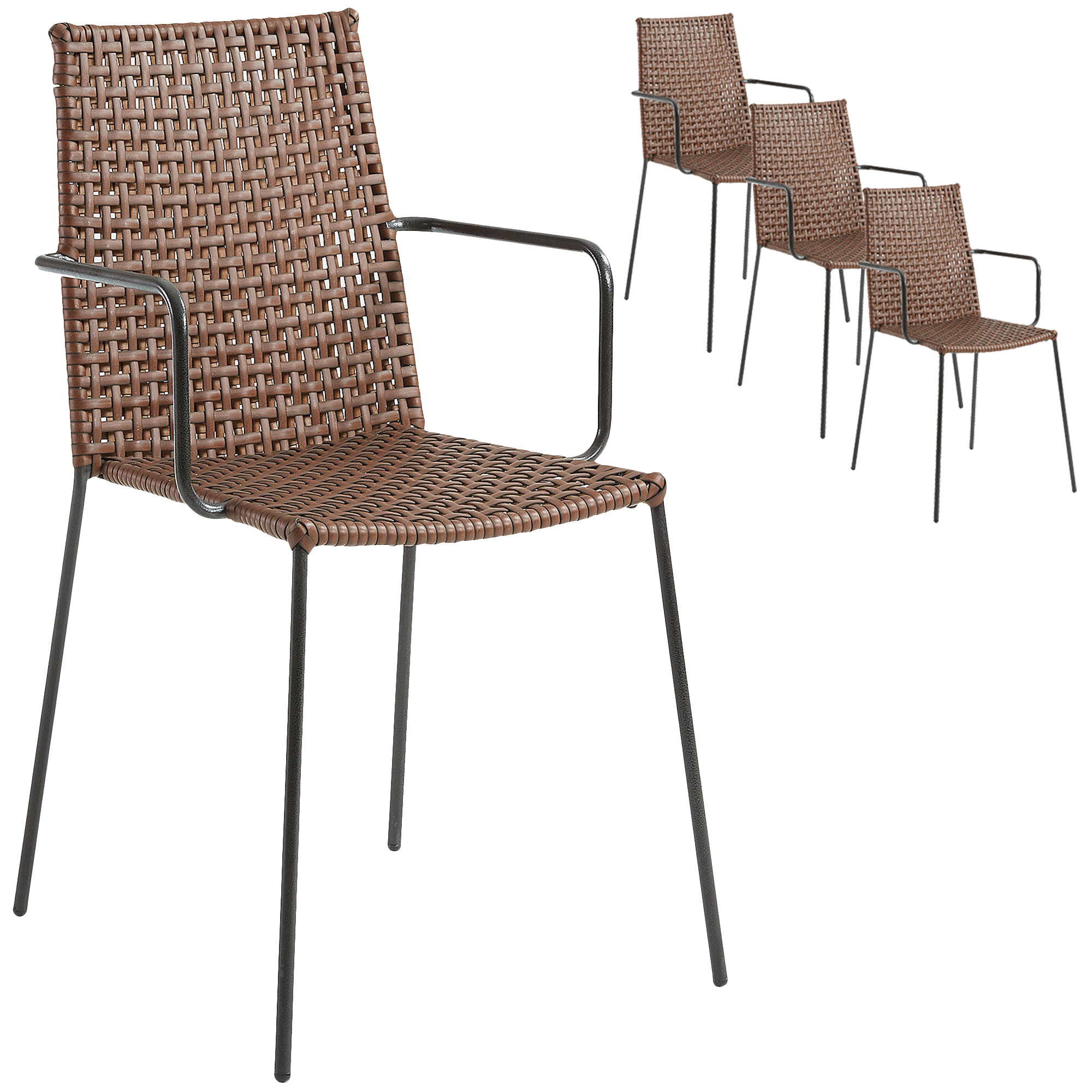 low priced 43127 887d8 Brown Agnes Faux Leather Dining Chairs (Set of 4)