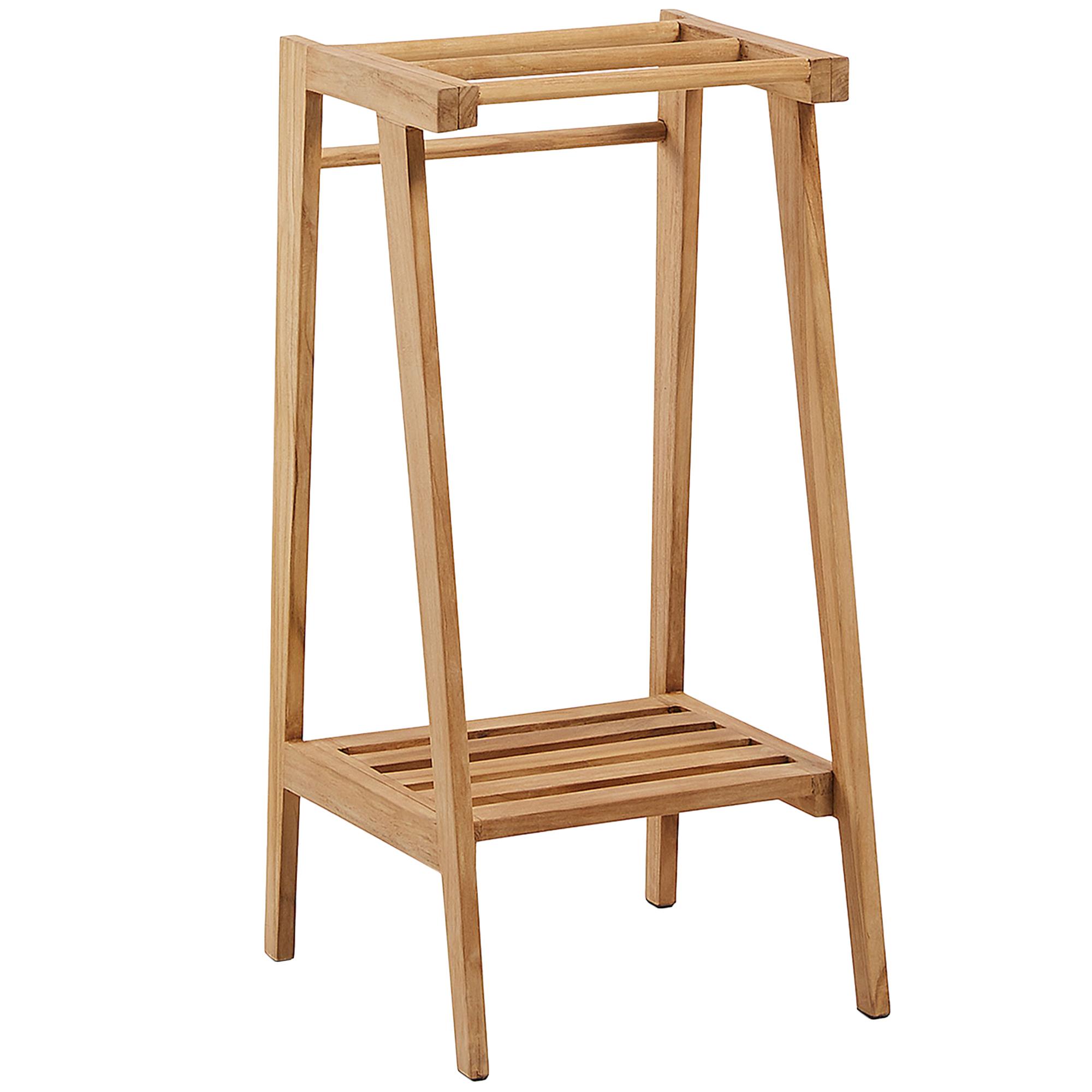 Linea Furniture Free Standing Teak Wood Towel Rack Reviews Temple Webster
