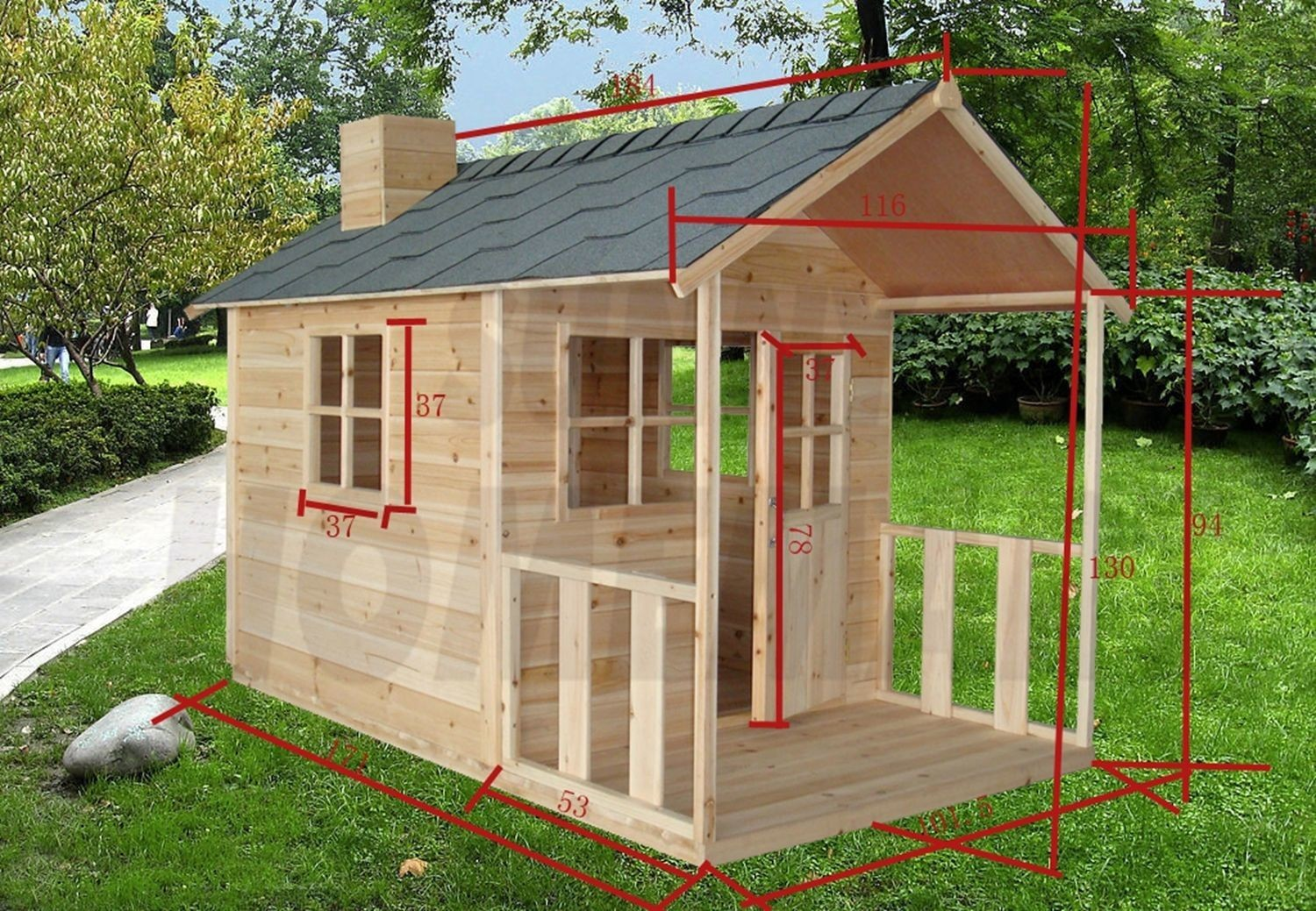 White Angel Outdoor Playhouse Wooden Cubby House And Windows - Cubby house