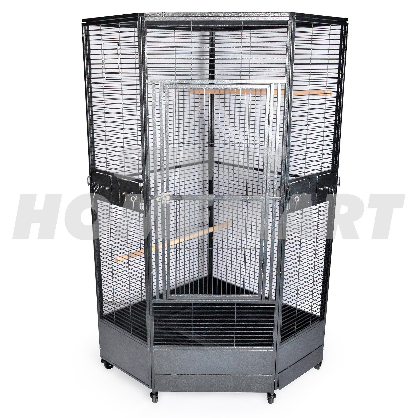 Extra Corner Parrot Aviary Bird Cage with Wheels