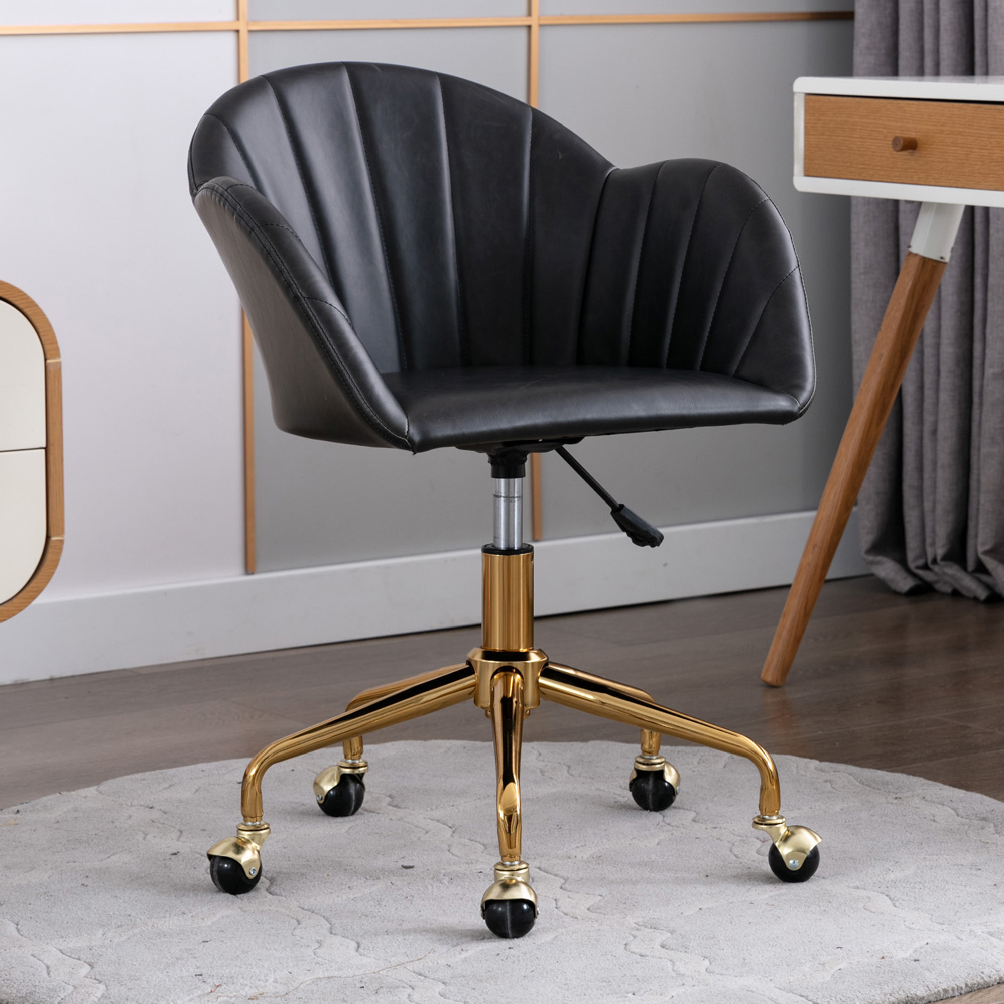 Oggetti Black Gold Brandon Faux Leather Office Chair Reviews Temple Webster