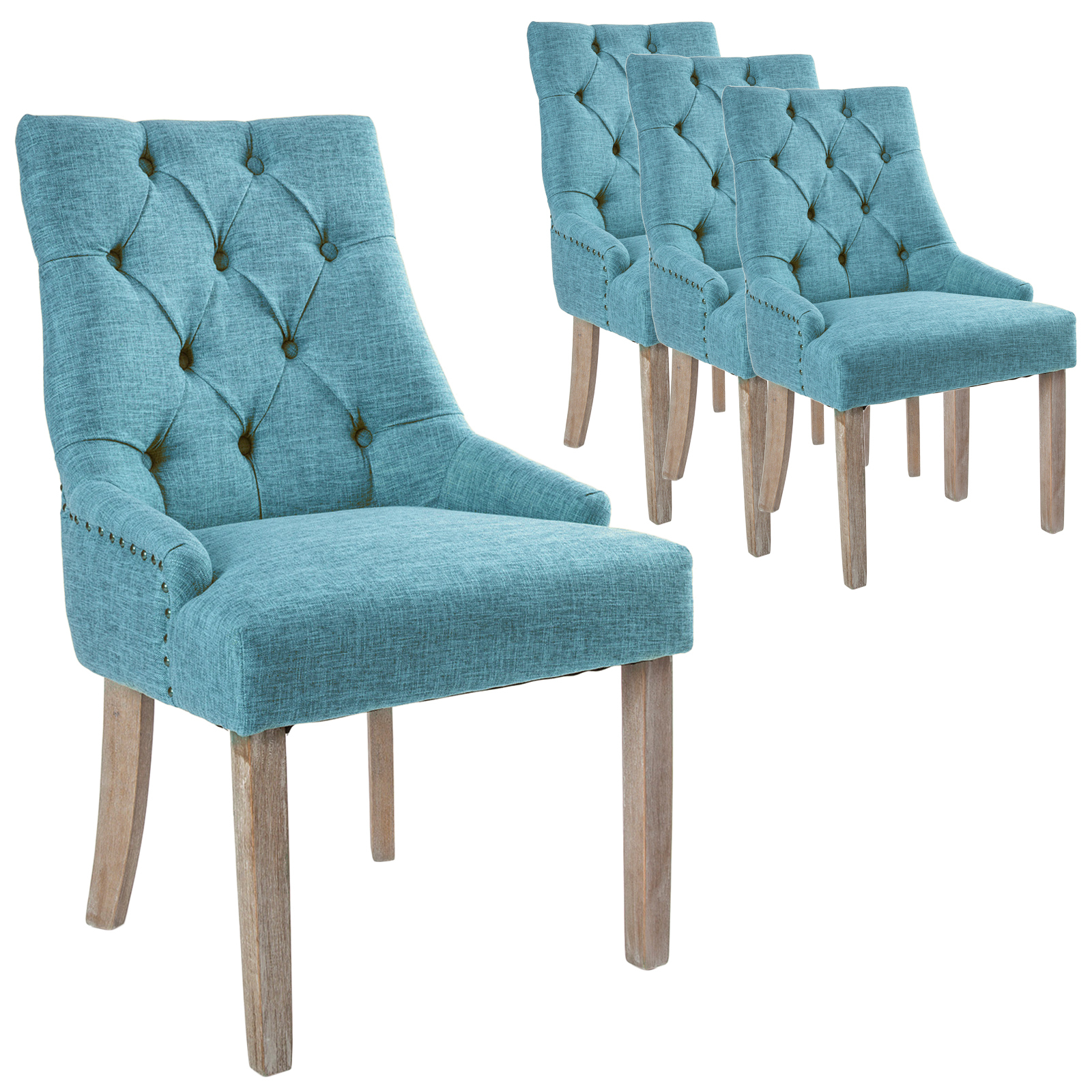 Picture of: Jarett Studded French Provincial Upholstered Dining Chairs Temple Webster
