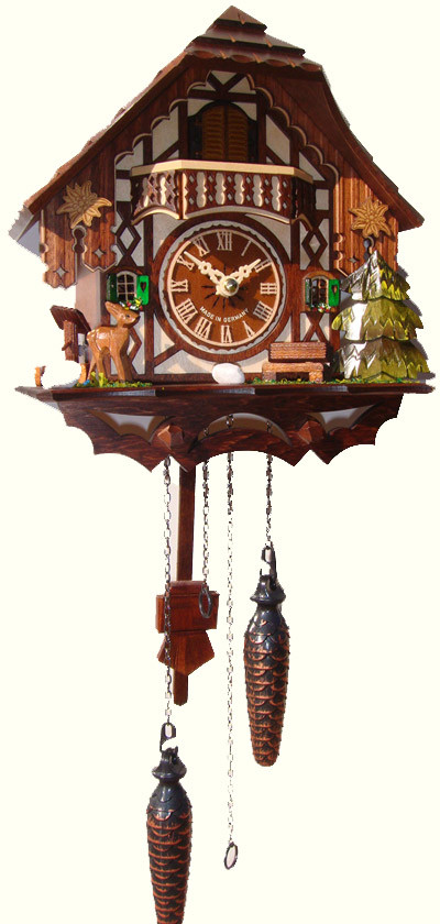 Quartz Musical Cuckoo Clock With Bambi And Tree