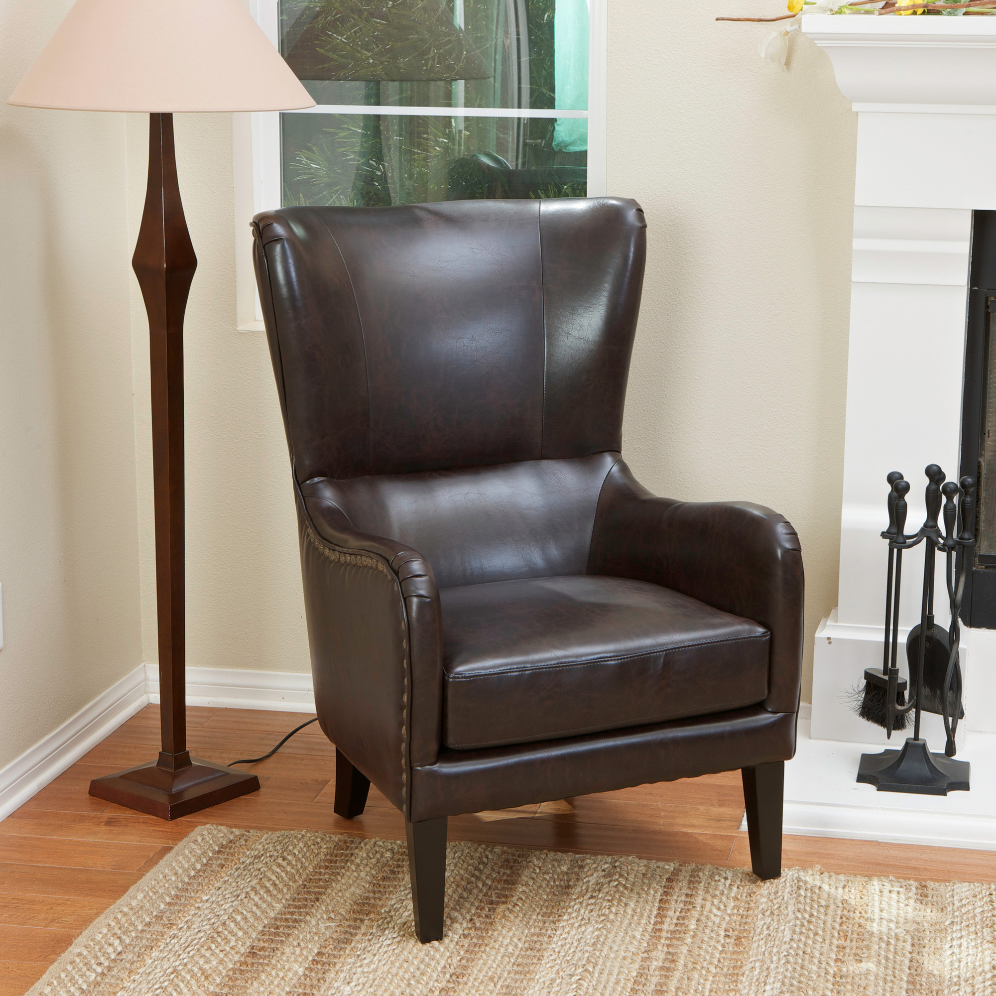 New Barclay Faux Leather Wing Backed Armchair Sky Blue
