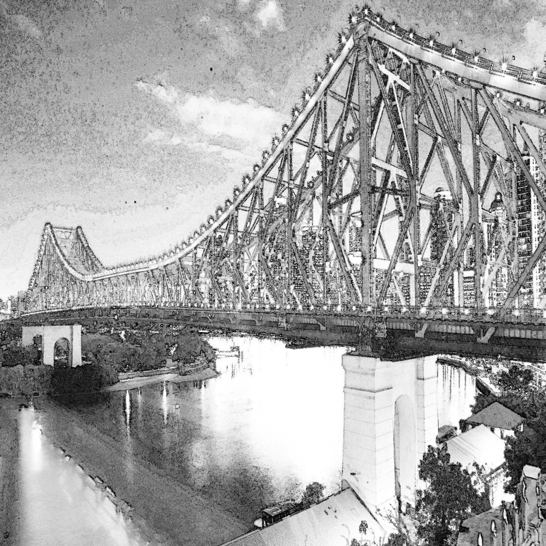 Black white story bridge watercolour canvas