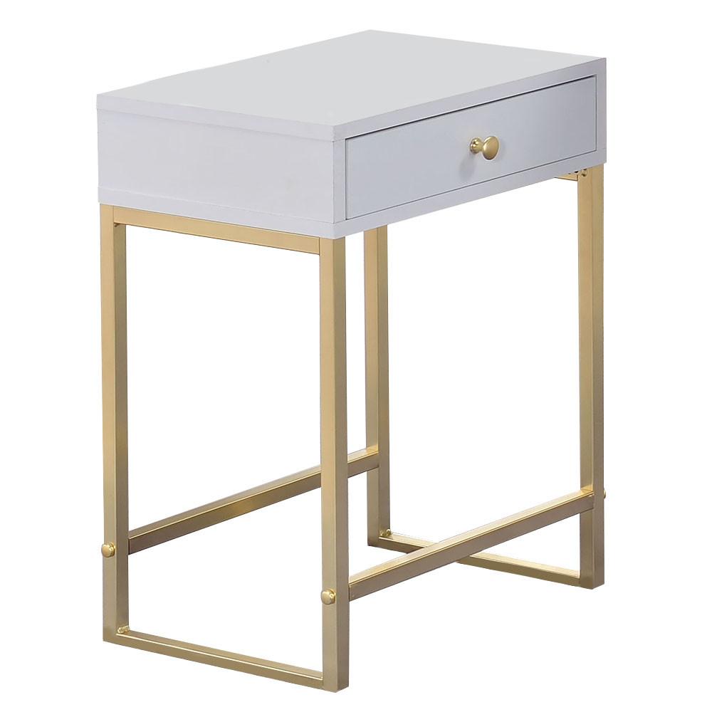 new white gold grace bedside table temple webster bedside tables ebay. Black Bedroom Furniture Sets. Home Design Ideas