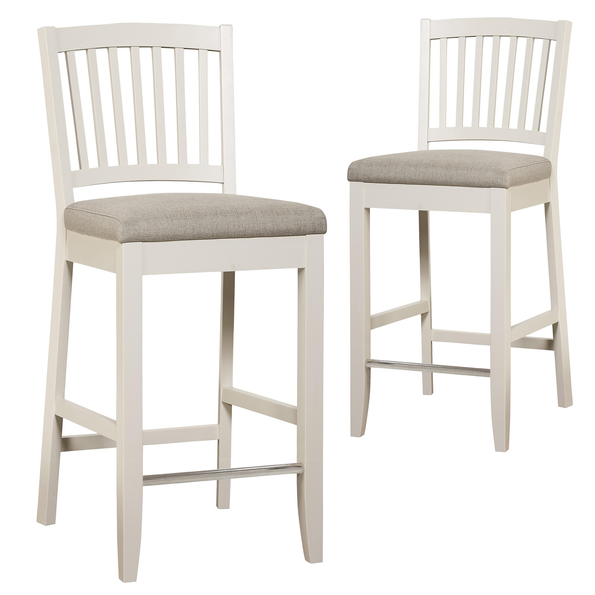 New set of 2 hamptons slat marbella fabric bar stools