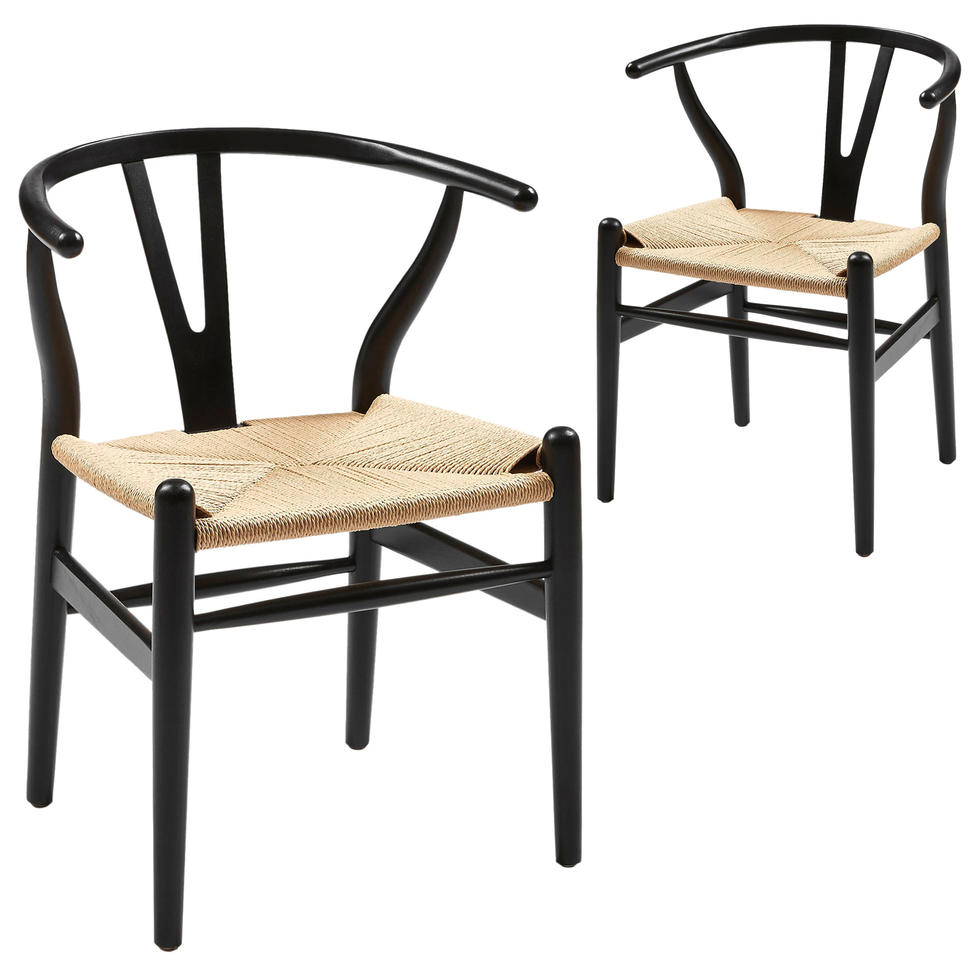 Black U0026 Natural Replica Hans Wegner Wishbone Chairs (Set Of ...