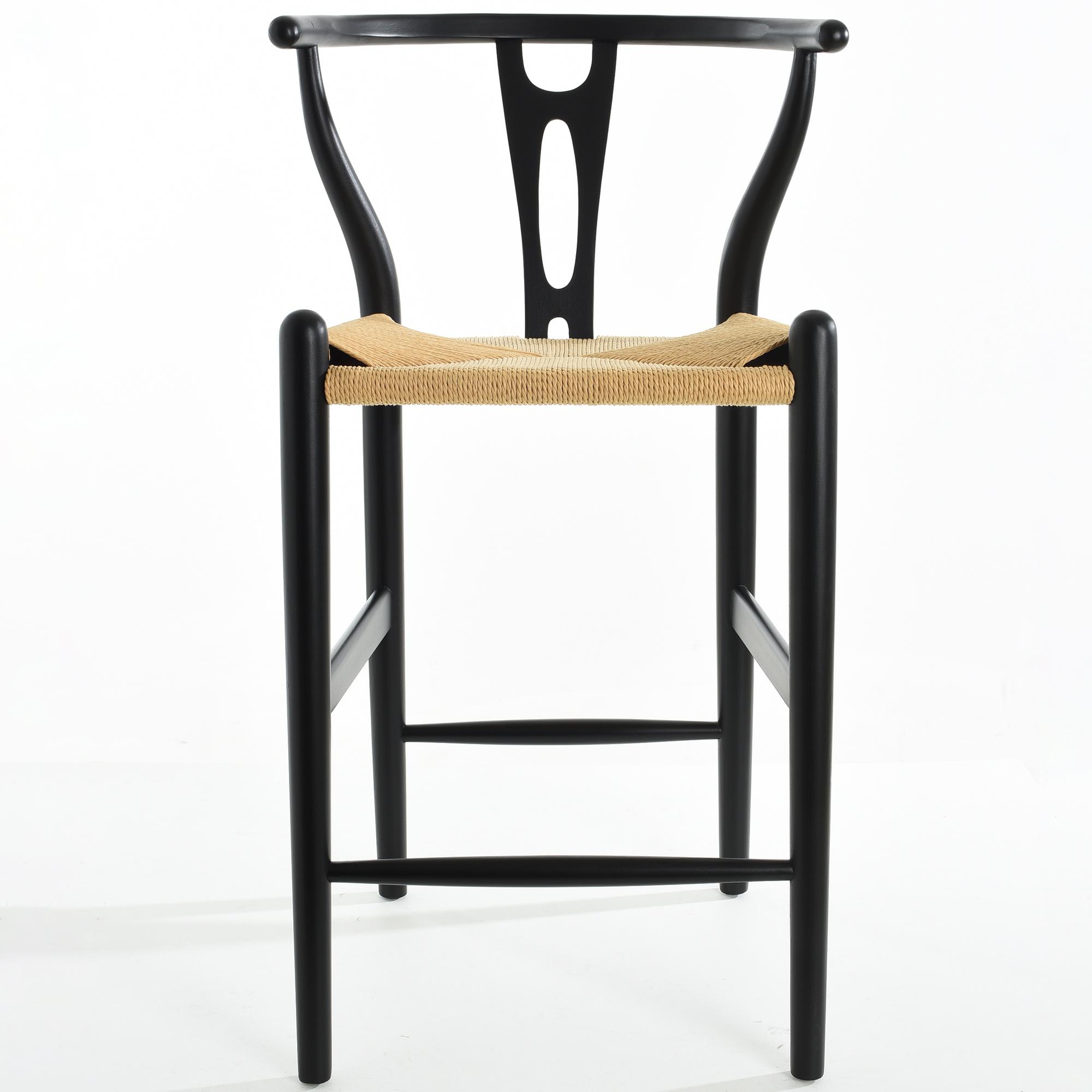 New Black Hans Wegner 65cm Replica Wishbone Barstool Milan