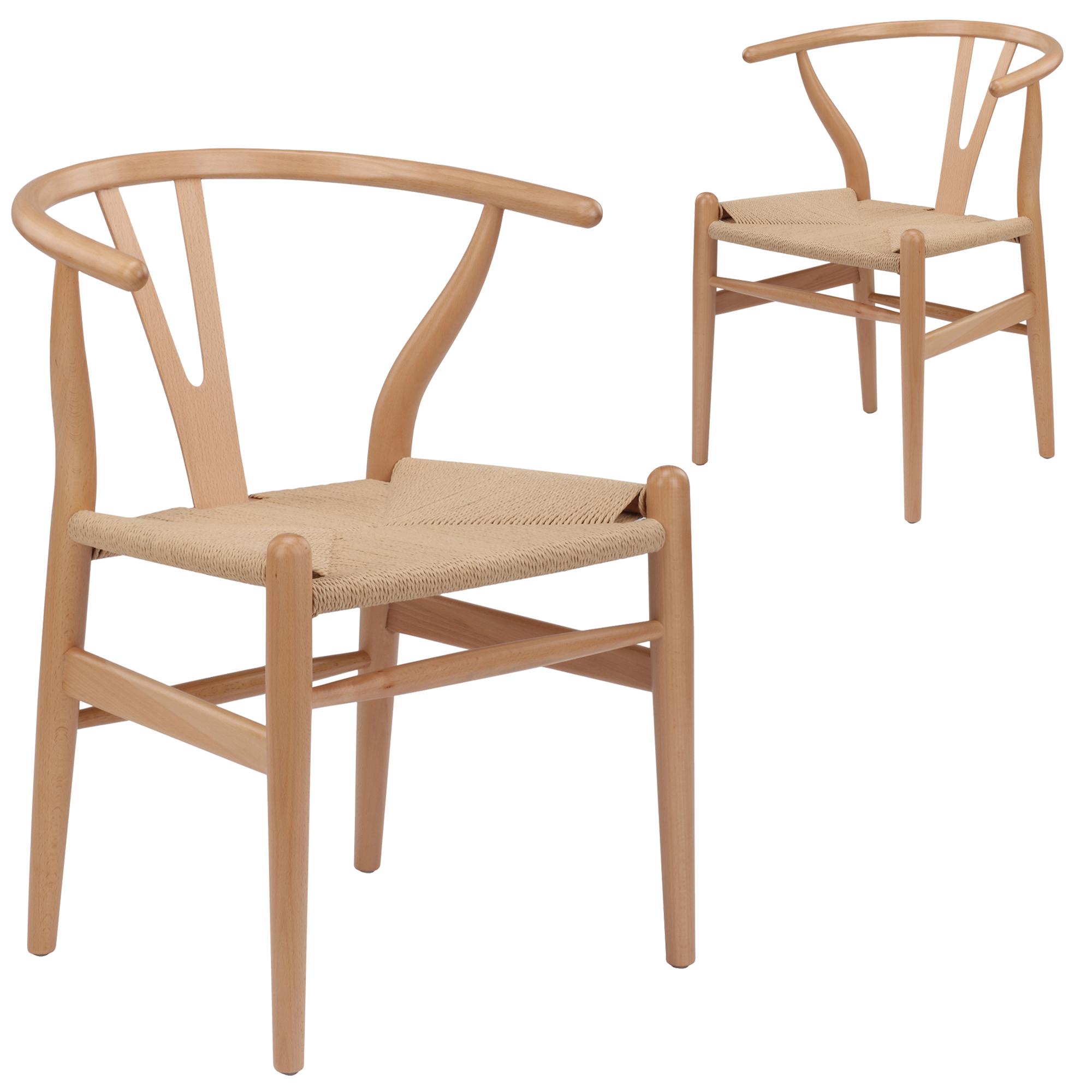 New Set Of 2 Natural Hans Wegner Replica Wishbone Chair Ebay