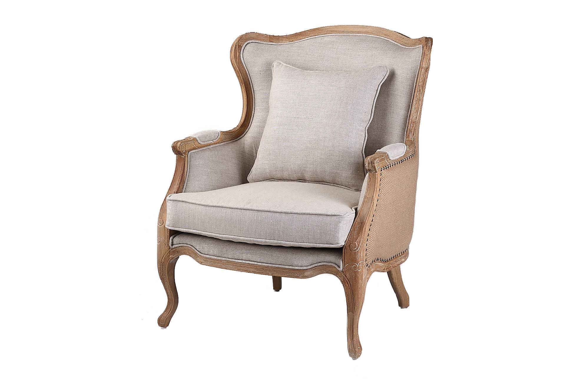 French Country Linen Wingback Armchair HWC024 HOFL1014