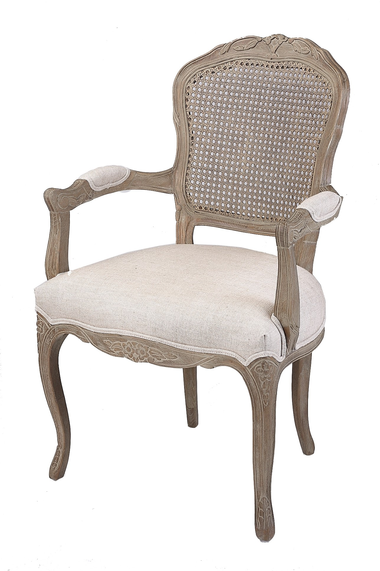French Country Linen Dining Armchair With Rattan Back