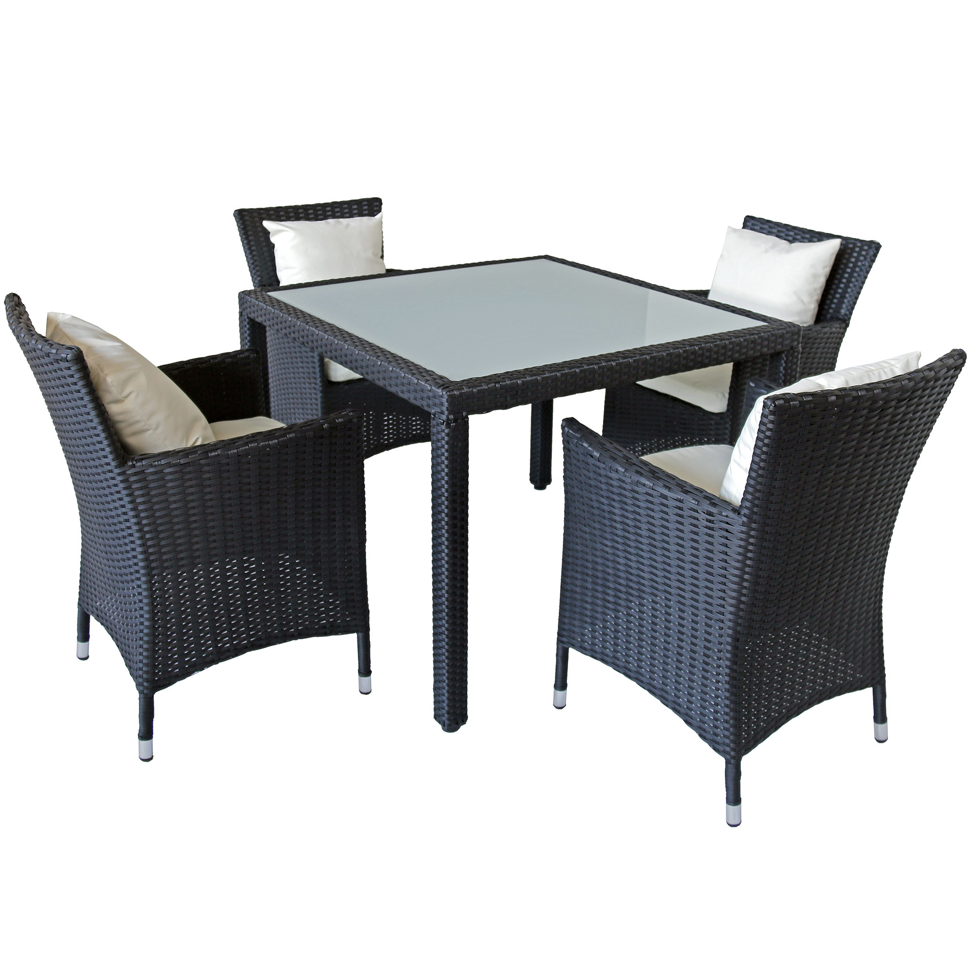 Naturally Provinicial 4 Seater Brogan Pe Rattan Outdoor Dining Set Reviews Temple Webster