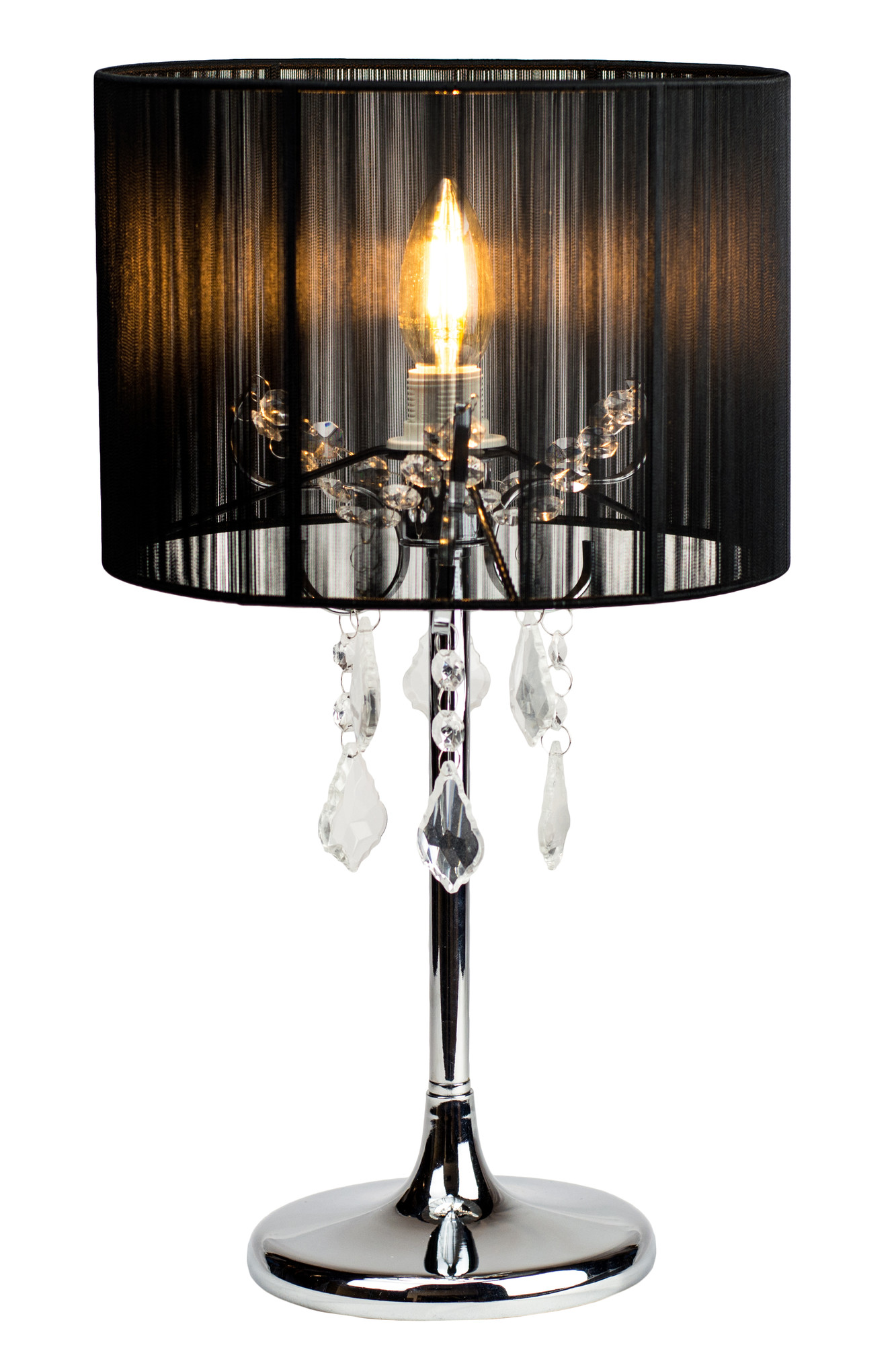 SKU #LELI1055 Paris Chrome Table Lamp With Black String Shade Is Also  Sometimes Listed Under The Following Manufacturer Numbers: LL 14 0035B