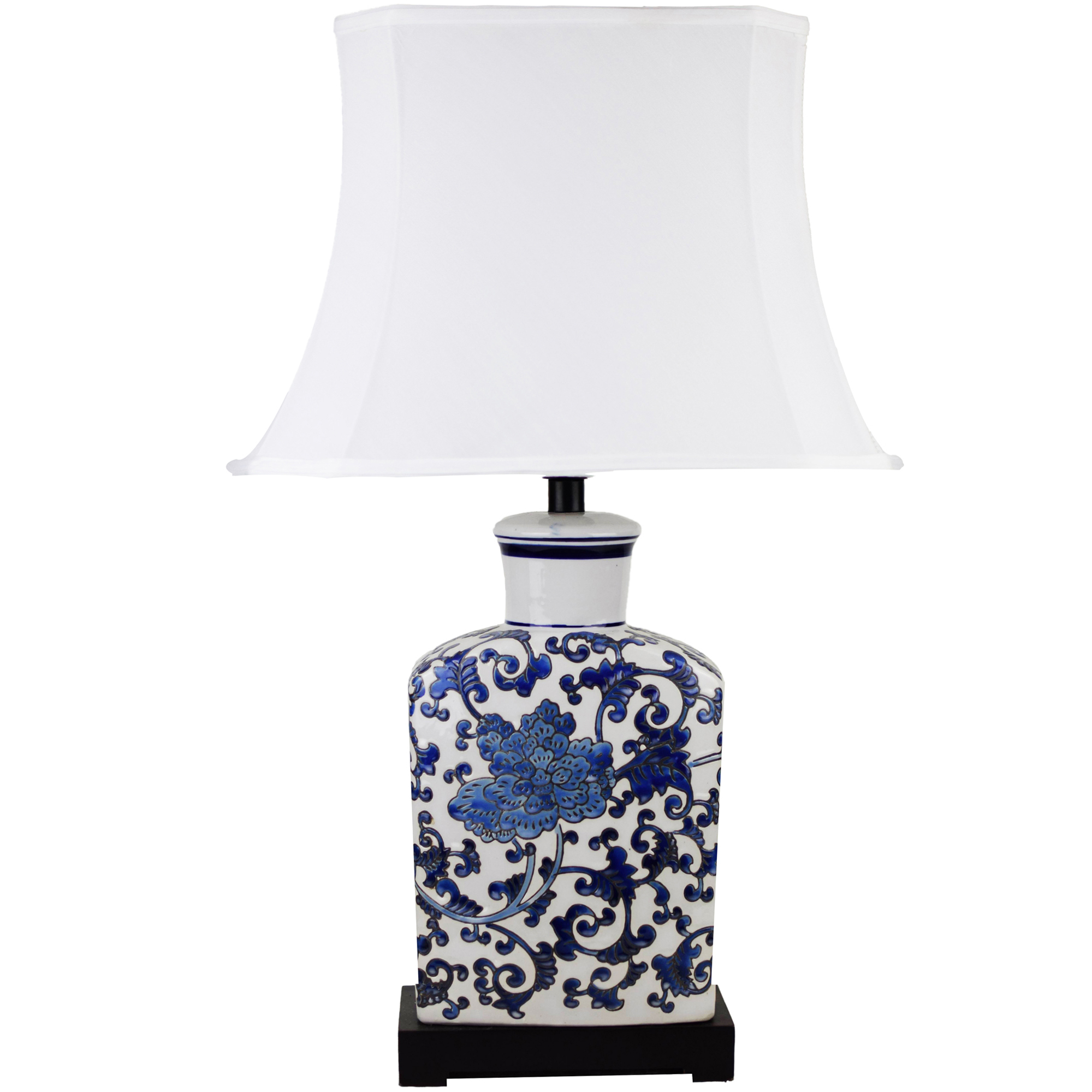 Picture of: Luminea White Blue Thiais Ceramic Table Lamp Reviews Temple Webster