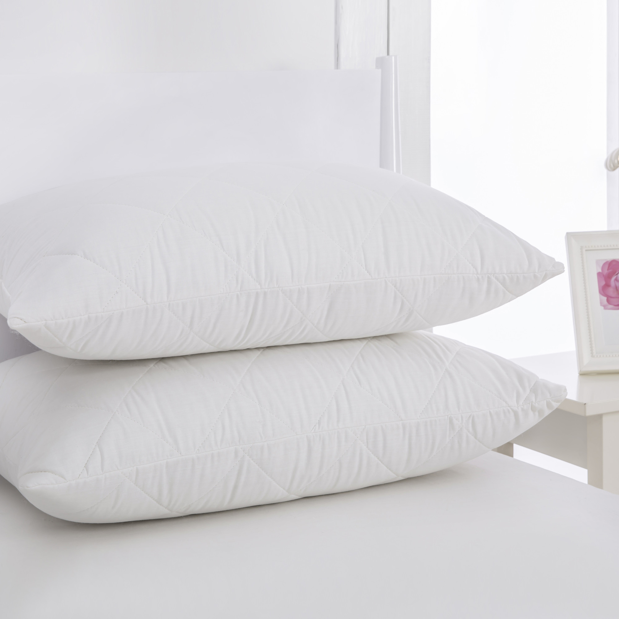 pillow protector ra quilted product protectors diamond pillowprotector downia zipped